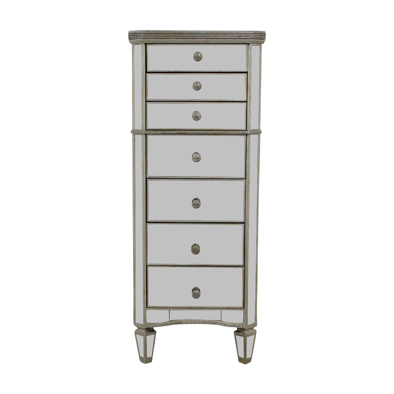 Seven-Drawer Mirrored Tall Dresser nj