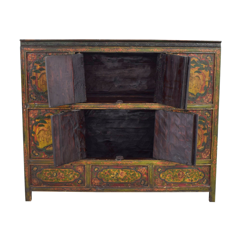 Authentic Custom Tibetan Painted Cabinet second hand