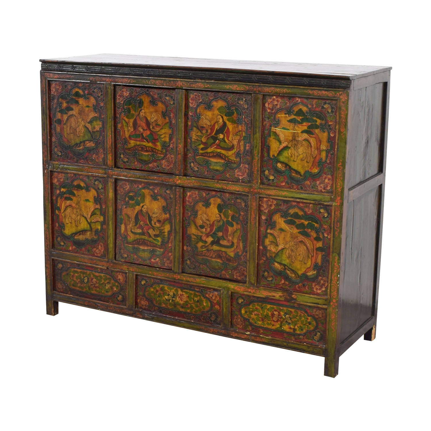 Authentic Custom Tibetan Painted Cabinet Cabinets & Sideboards