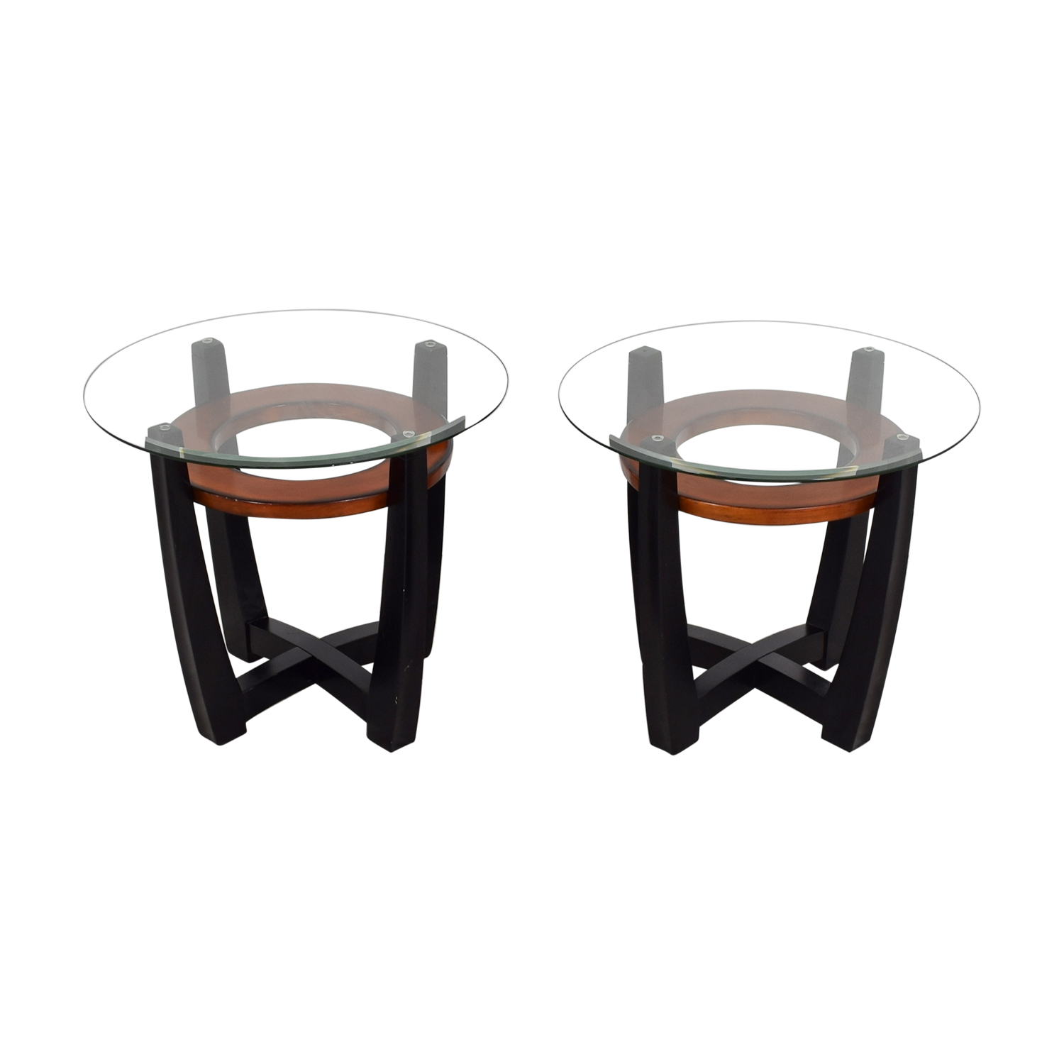 Elation Elation Round Glass and Wood End Tables dimensions