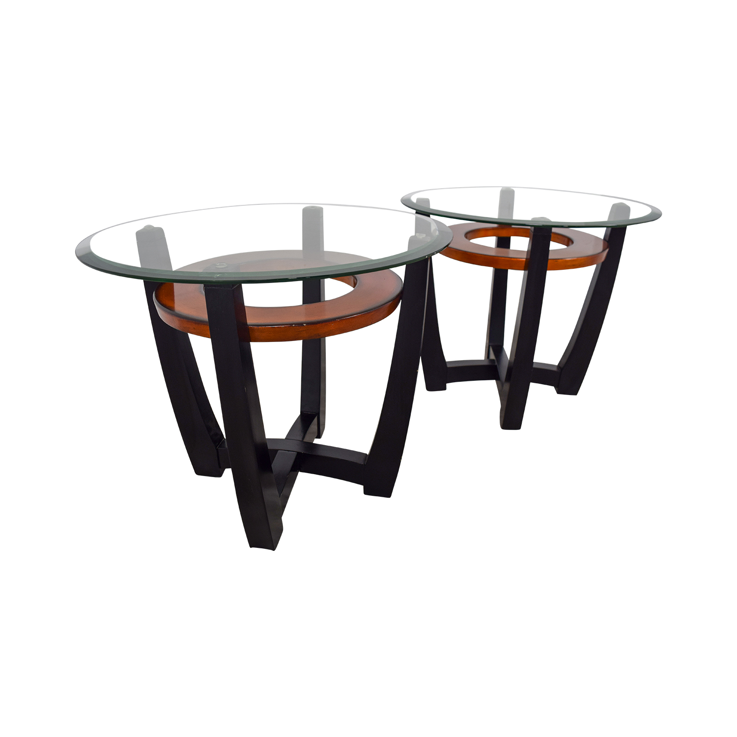 buy Elation Elation Round Glass and Wood End Tables online