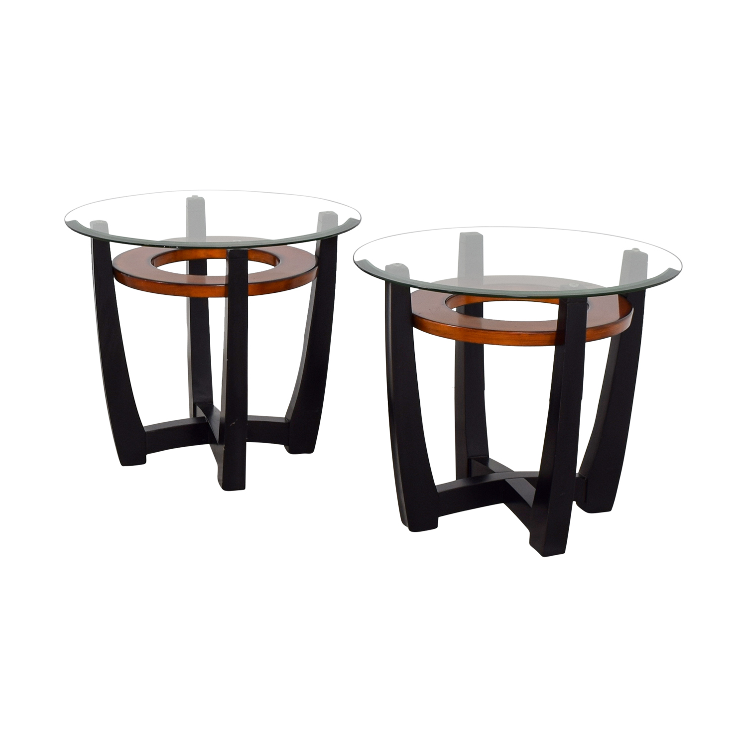 71 off elation elation round glass and wood end tables tables. Black Bedroom Furniture Sets. Home Design Ideas