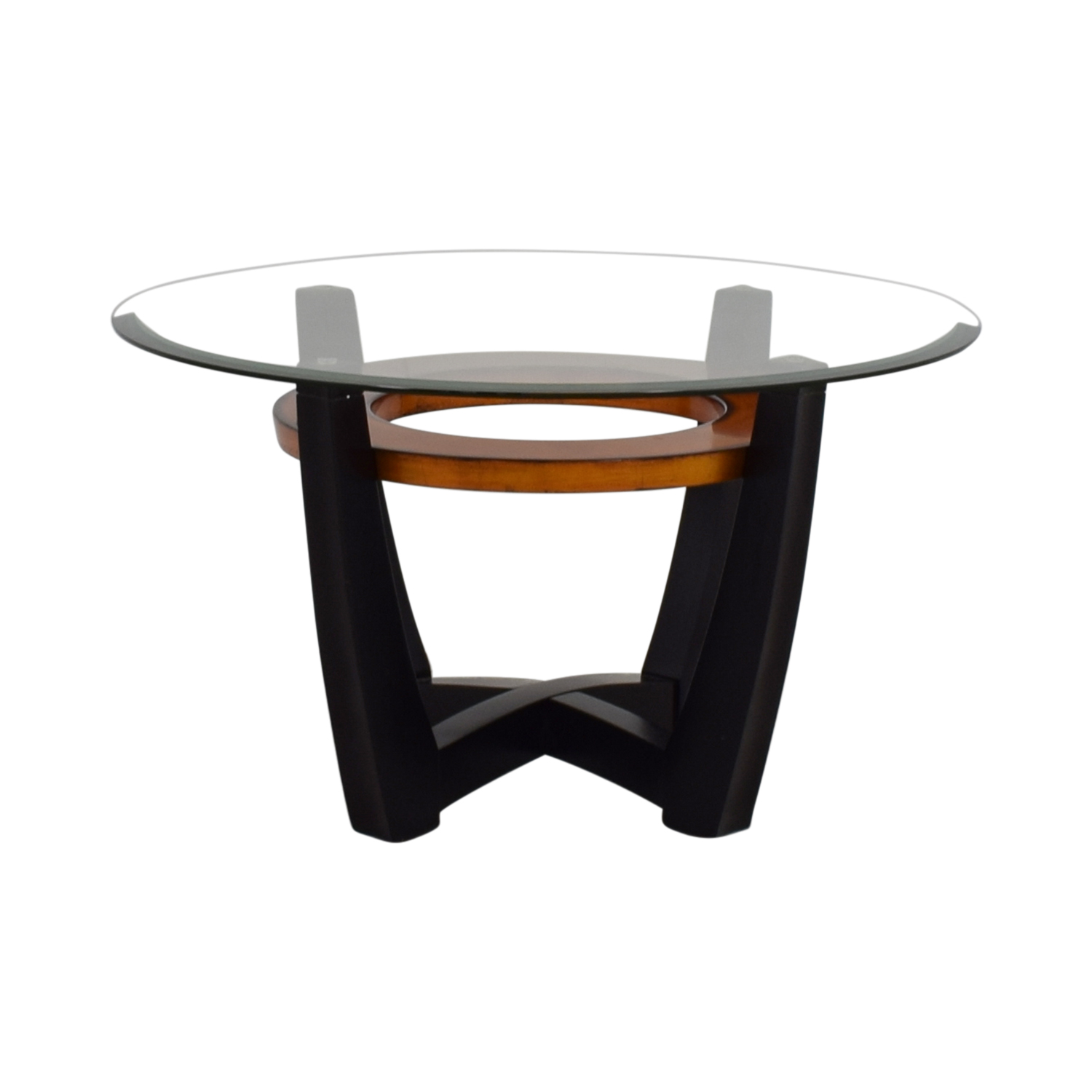 84 Off Macy S Elation Round Glass Amp Wood Coffee Table