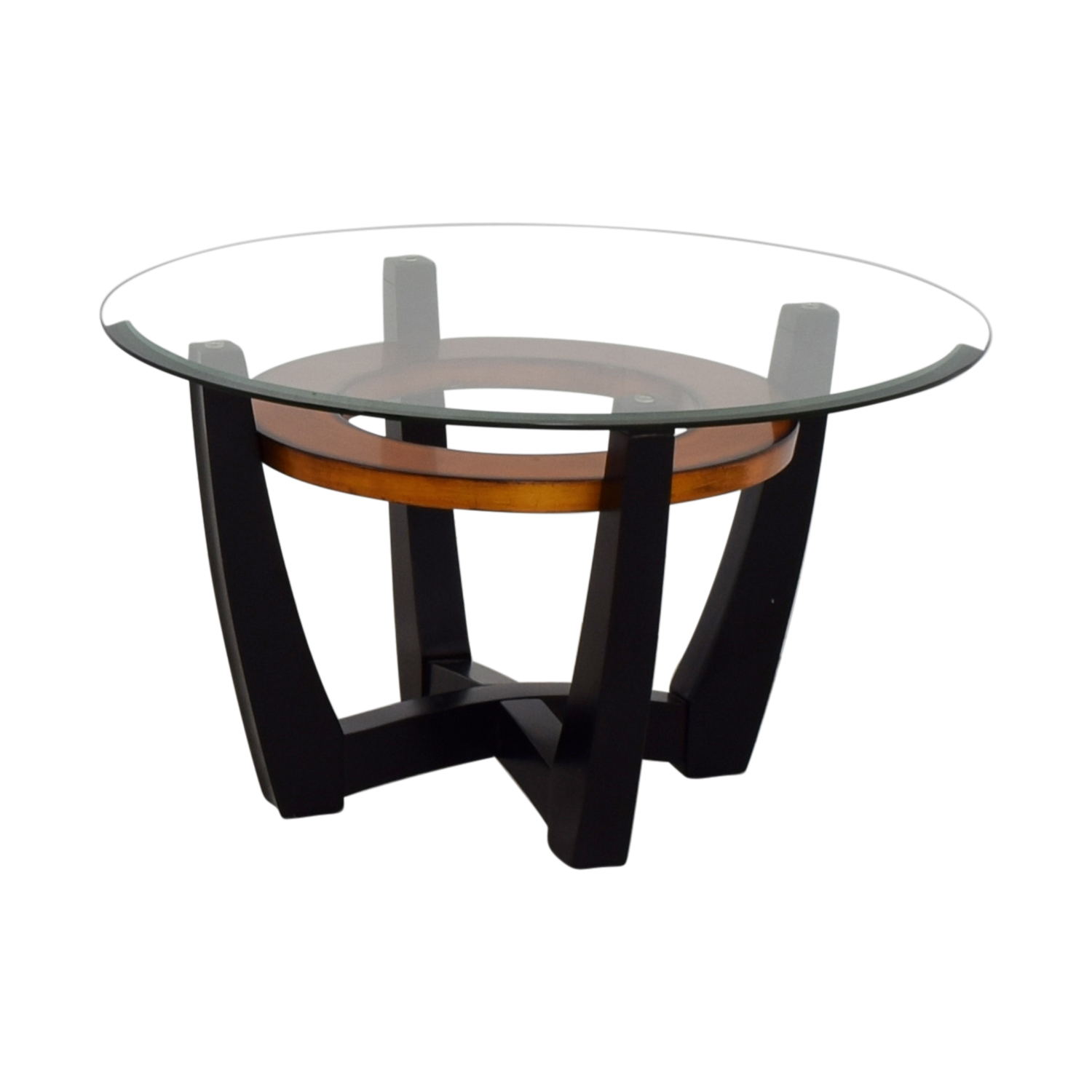 84% OFF - Macy's Elation Round Glass & Wood Coffee Table ...