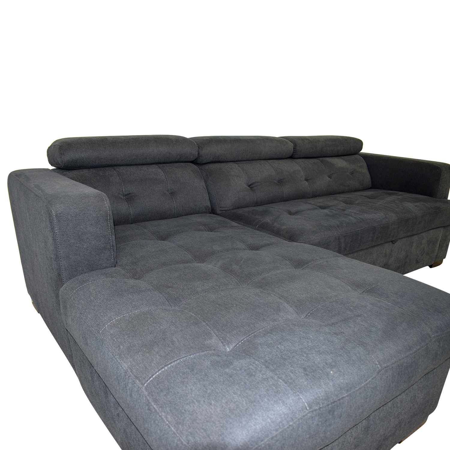 Playpen Playpen Navy Tufted Chaise Sectional nj
