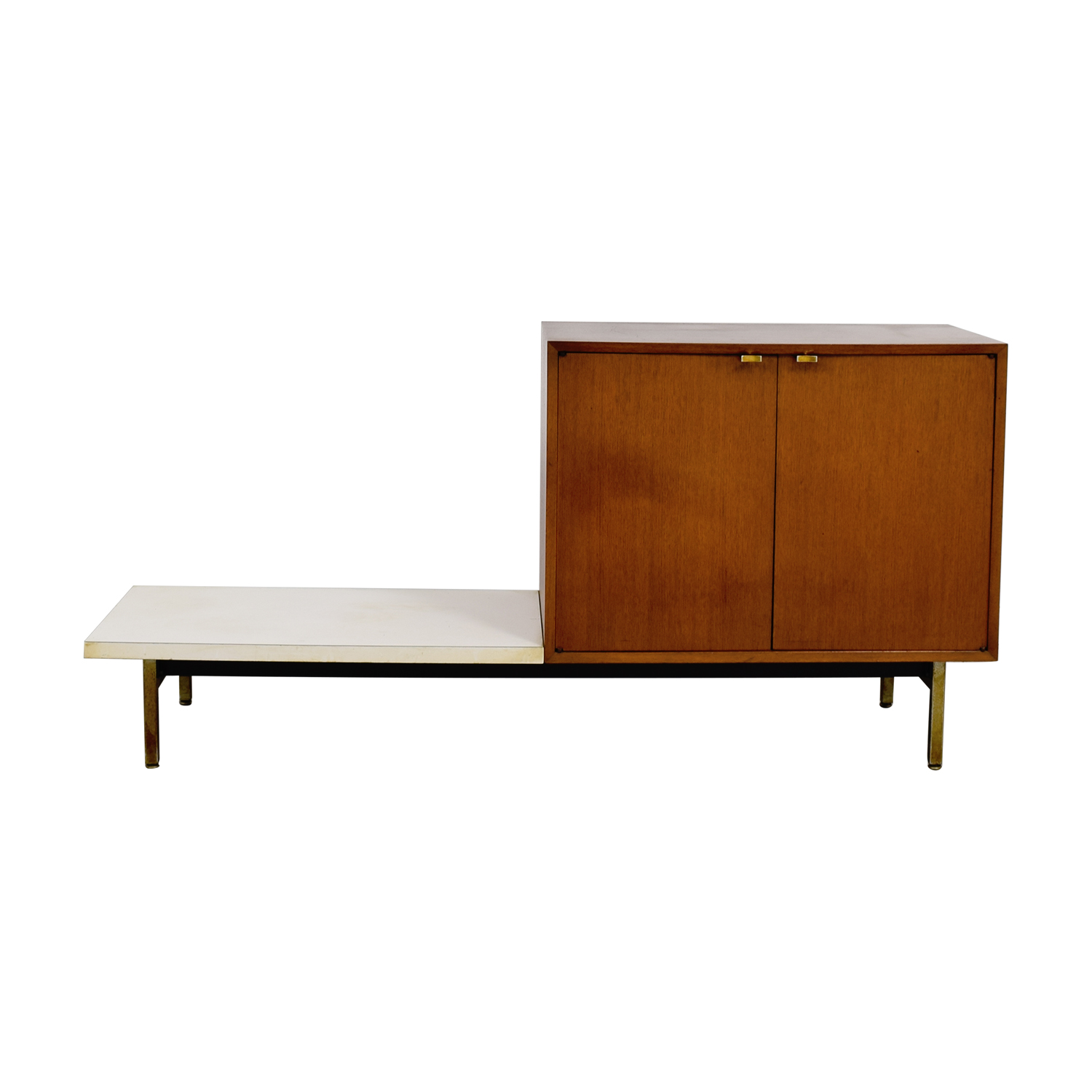 shop Mid Century Wood Cabinet with Side Shelf