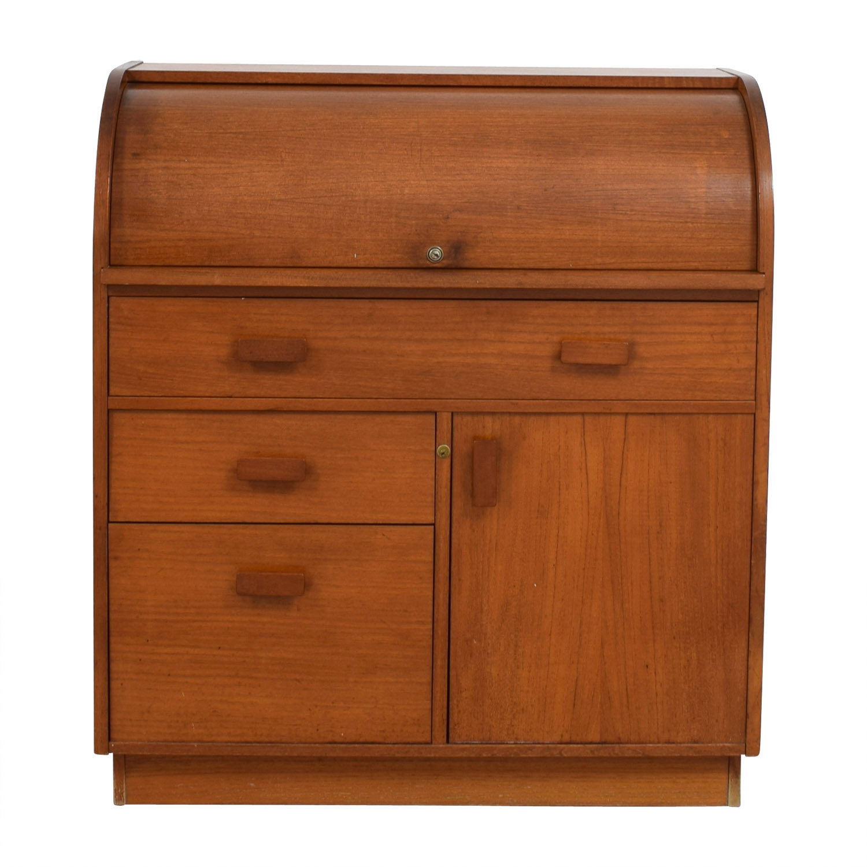 Wood Roll Top Secretary Desk used