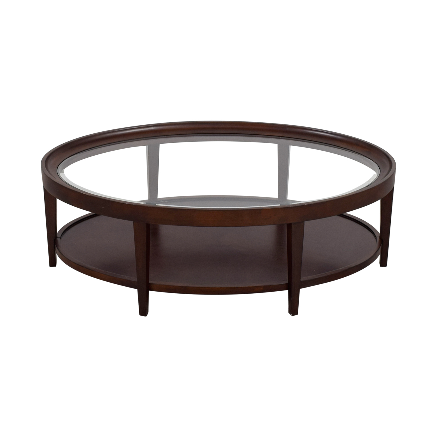 Carson Carson Oval Glass And Wood Coffee Table