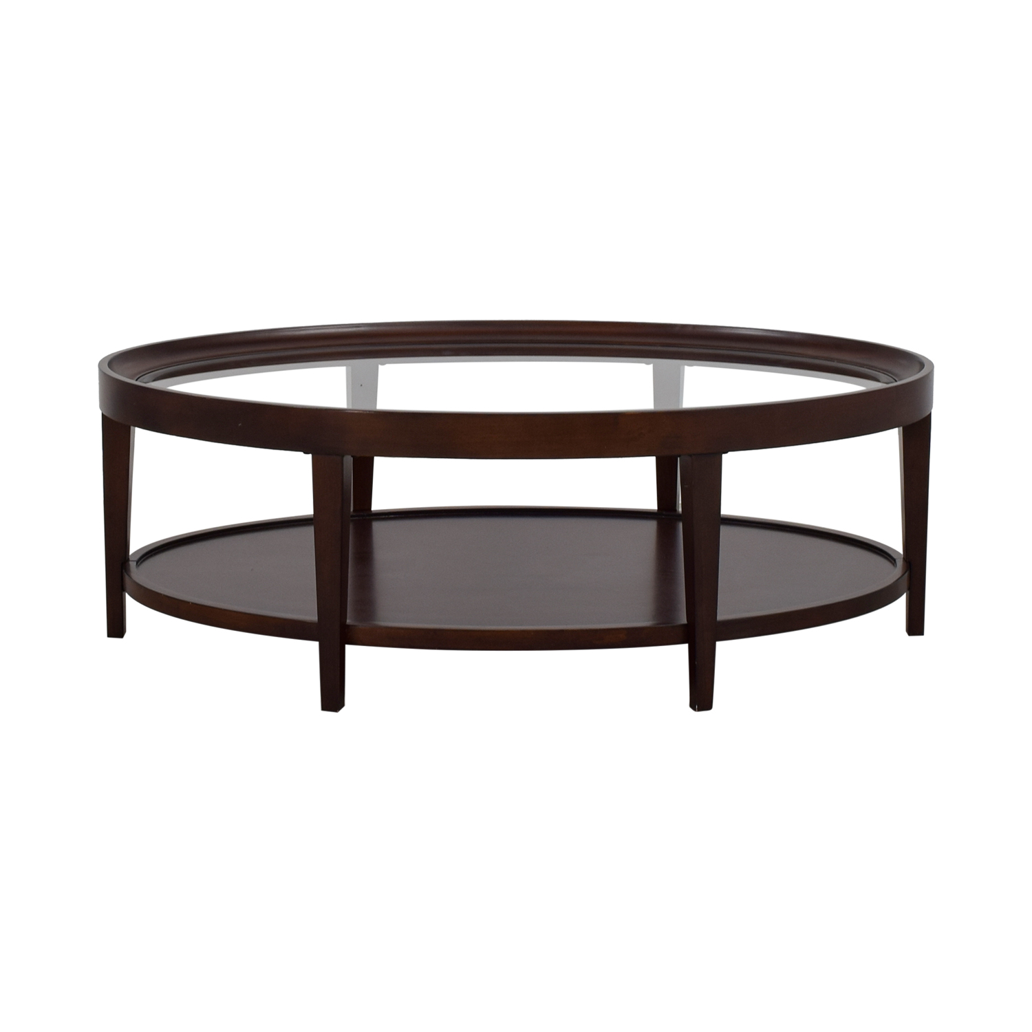 Carson Oval Glass and Wood Coffee Table / Tables