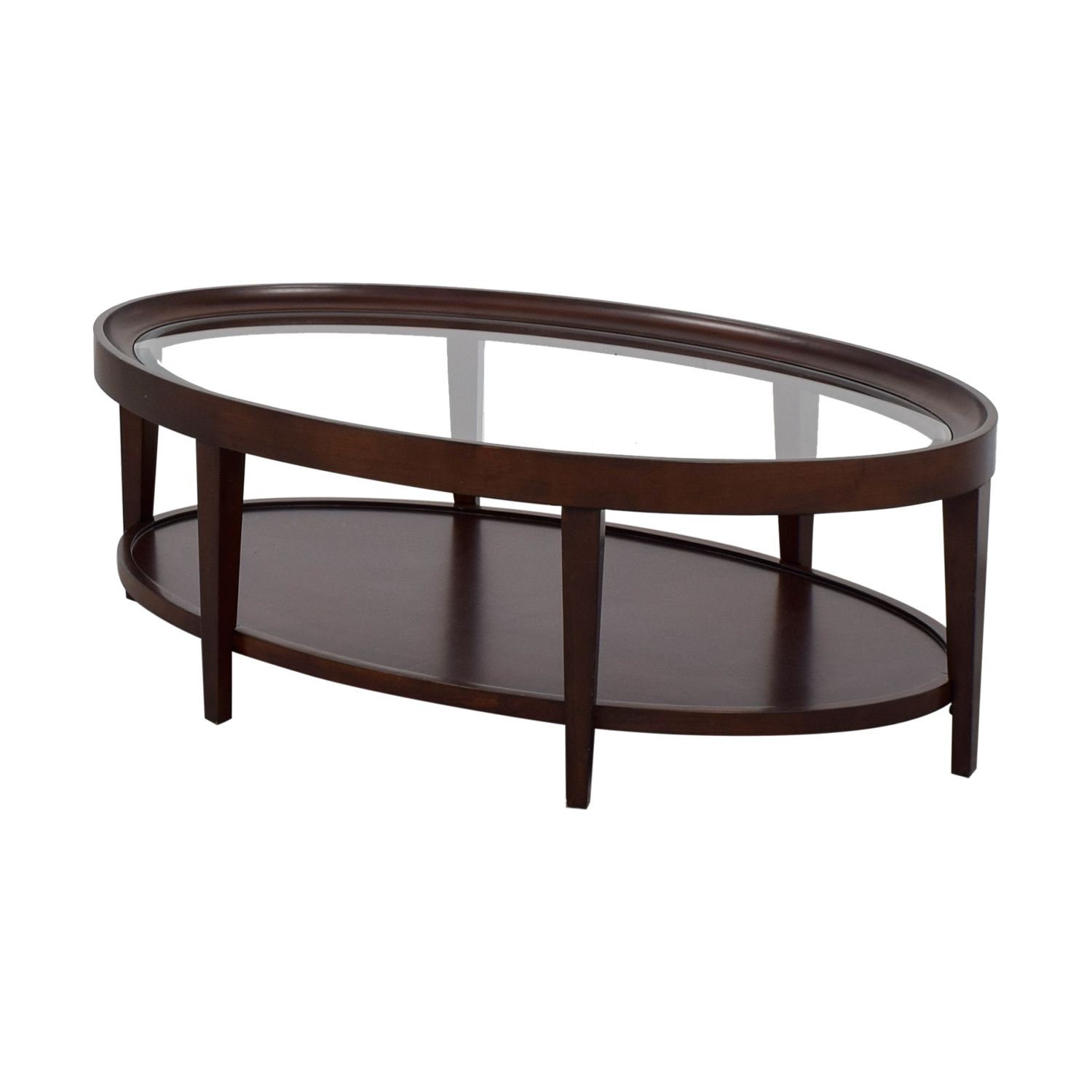 90 Off Carson Carson Oval Glass And Wood Coffee Table