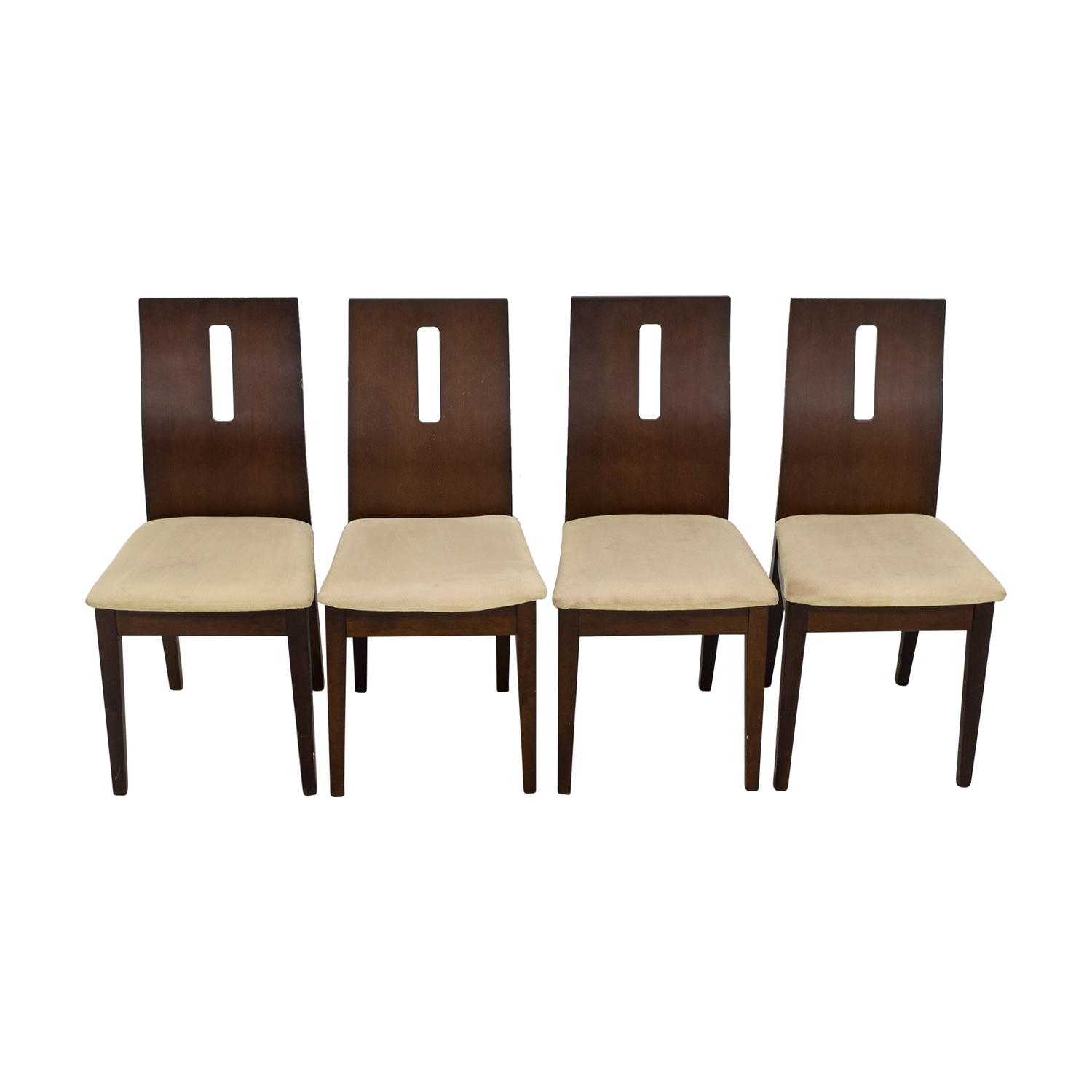 shop Wood and Beige Upholstered Dining Chairs