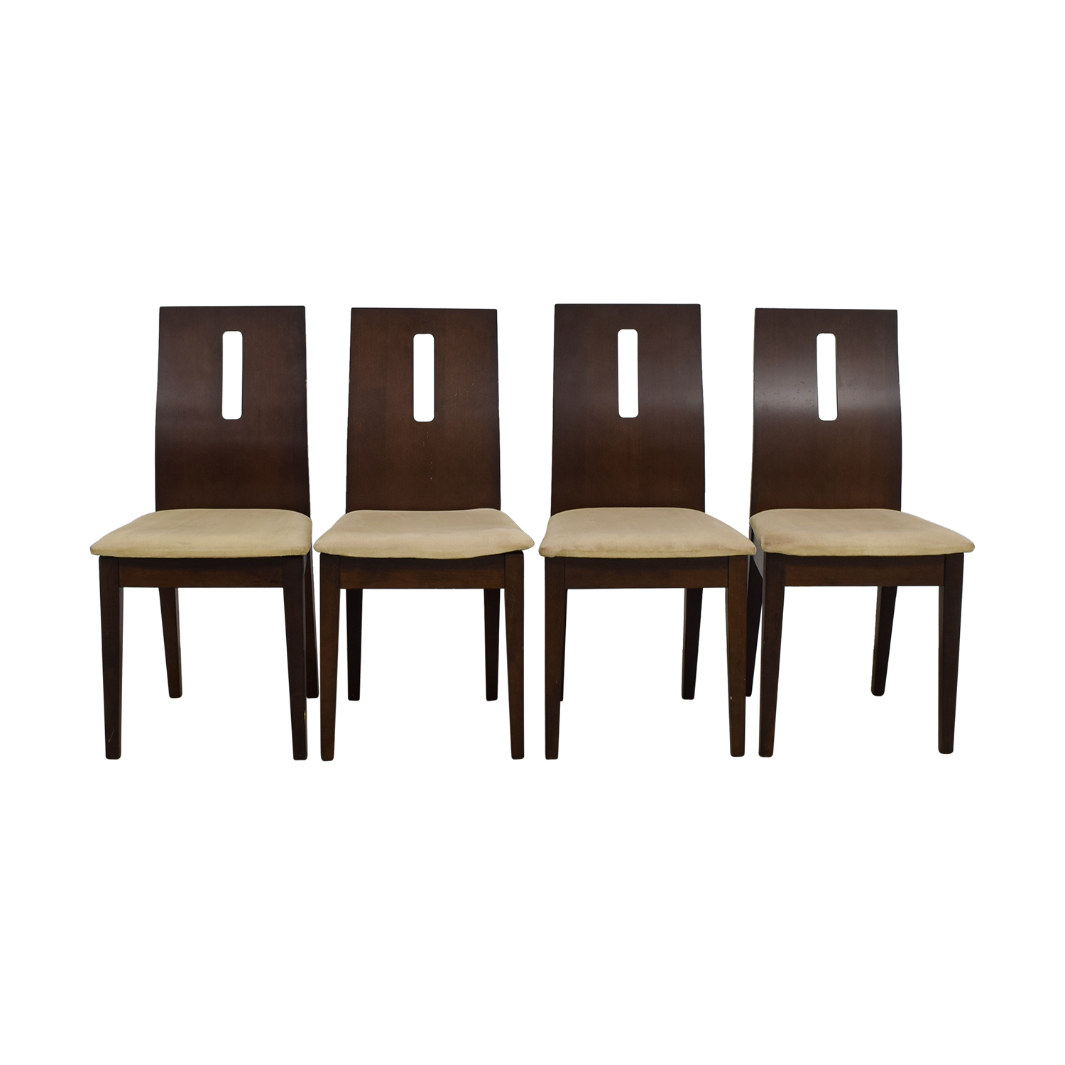 Wood and Beige Upholstered Dining Chairs dimensions