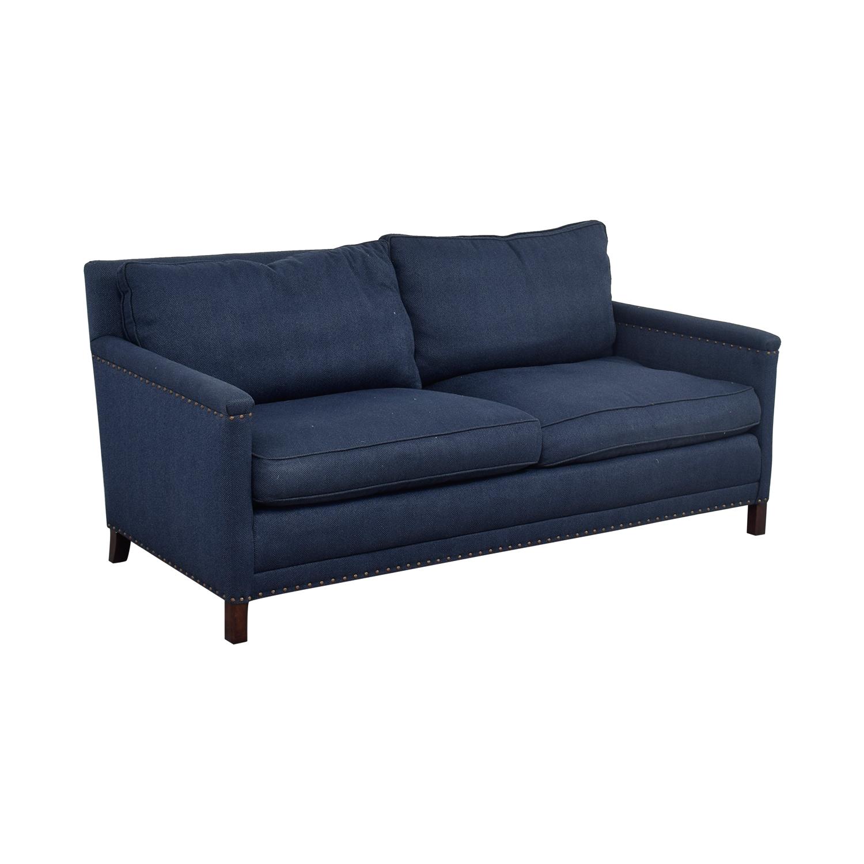 buy Lee Industries Lee Industries Navy Nail Head Two-Cushion Sofa online