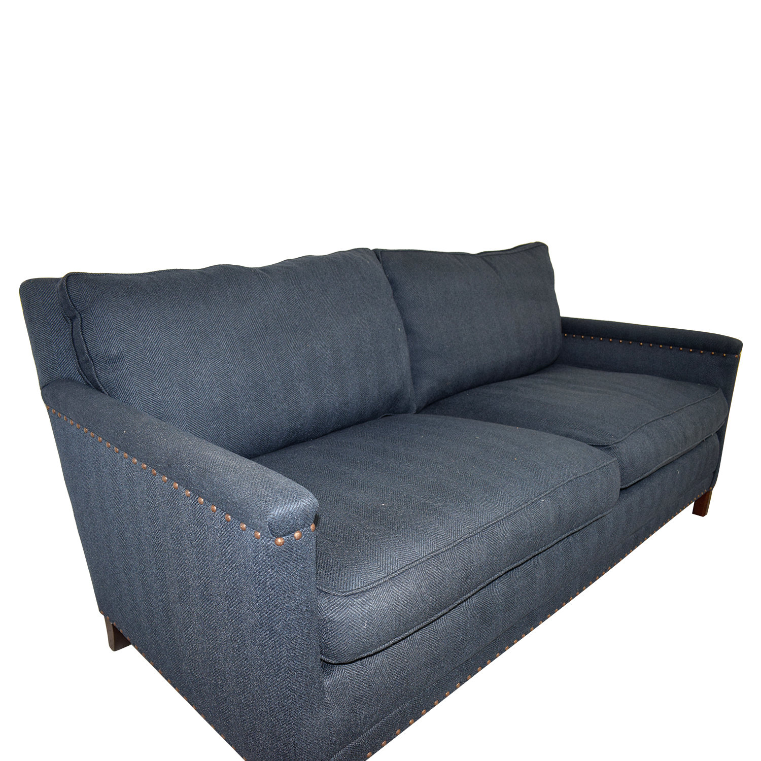 Lee Industries Lee Industries Navy Nail Head Two-Cushion Sofa second hand