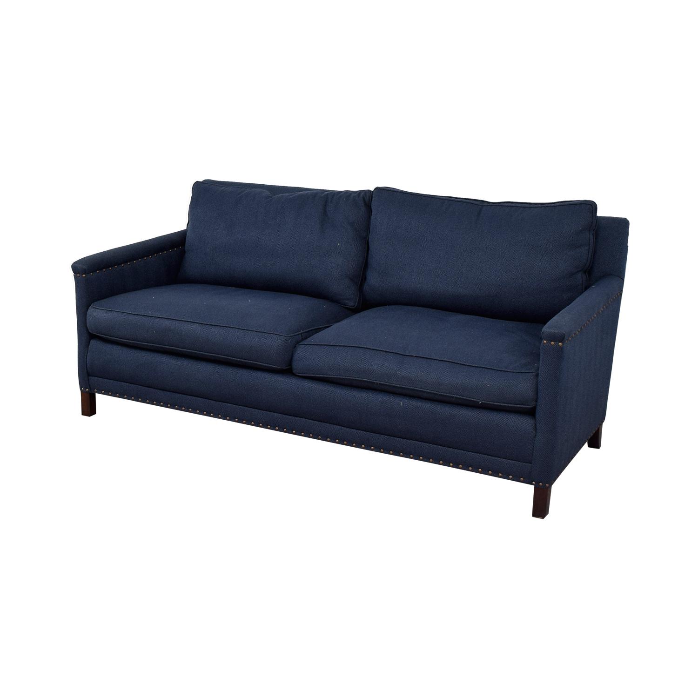 Lee Industries Lee Industries Navy Nail Head Two-Cushion Sofa nyc