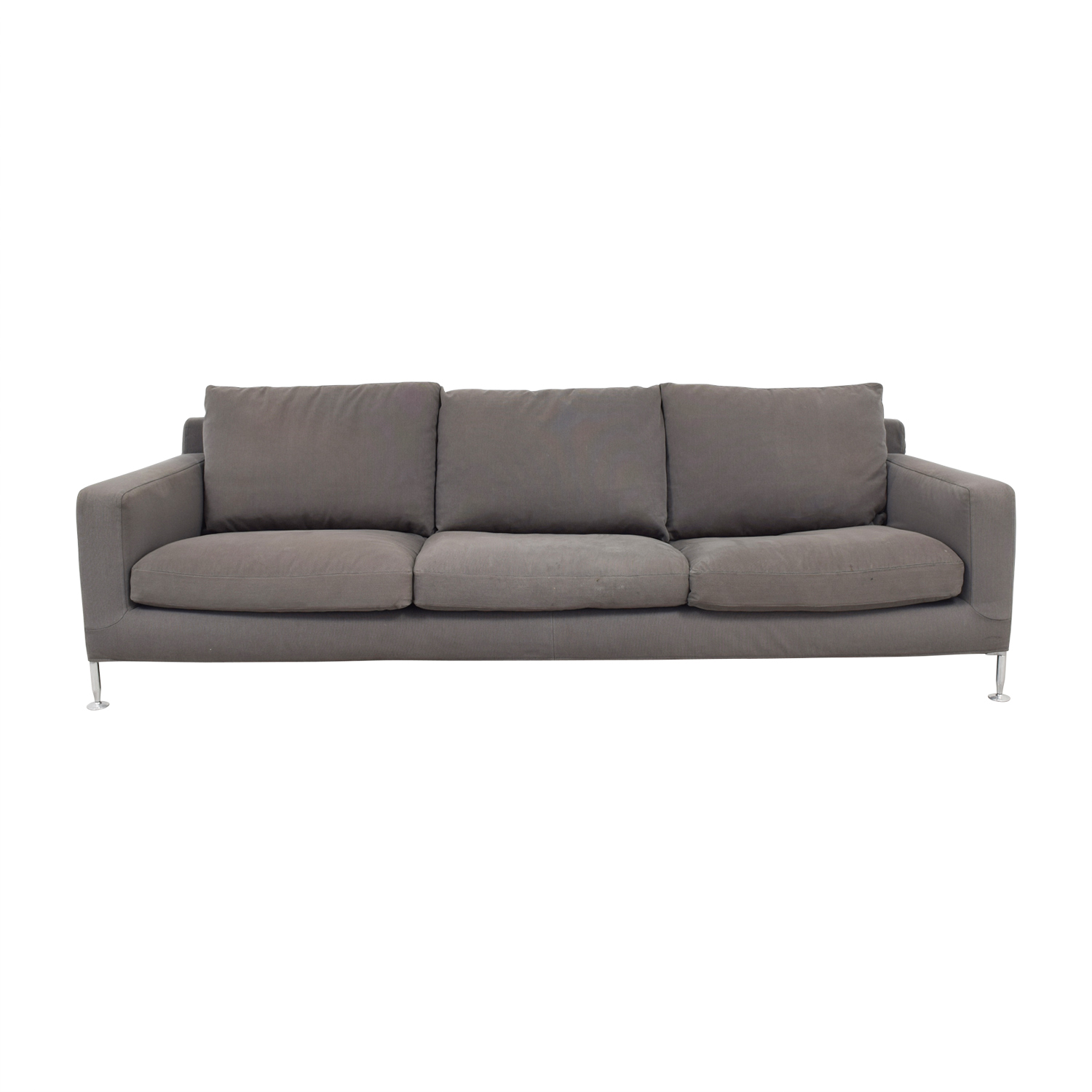 B&B Italia Harry Grey Three-Cushion Couch / Classic Sofas
