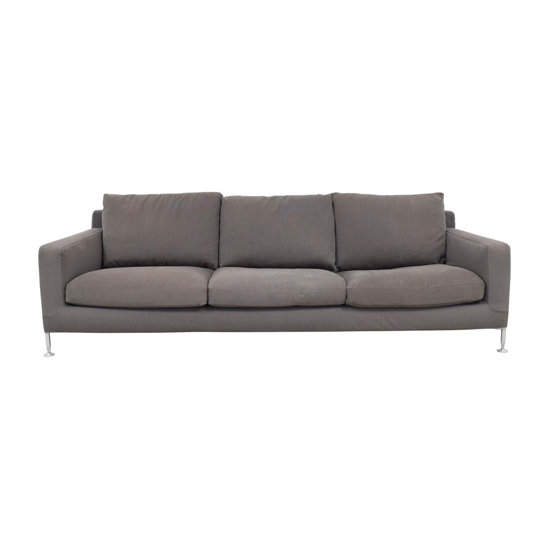 shop B&B Italia Harry Grey Three-Cushion Couch B&B Italia Sofas