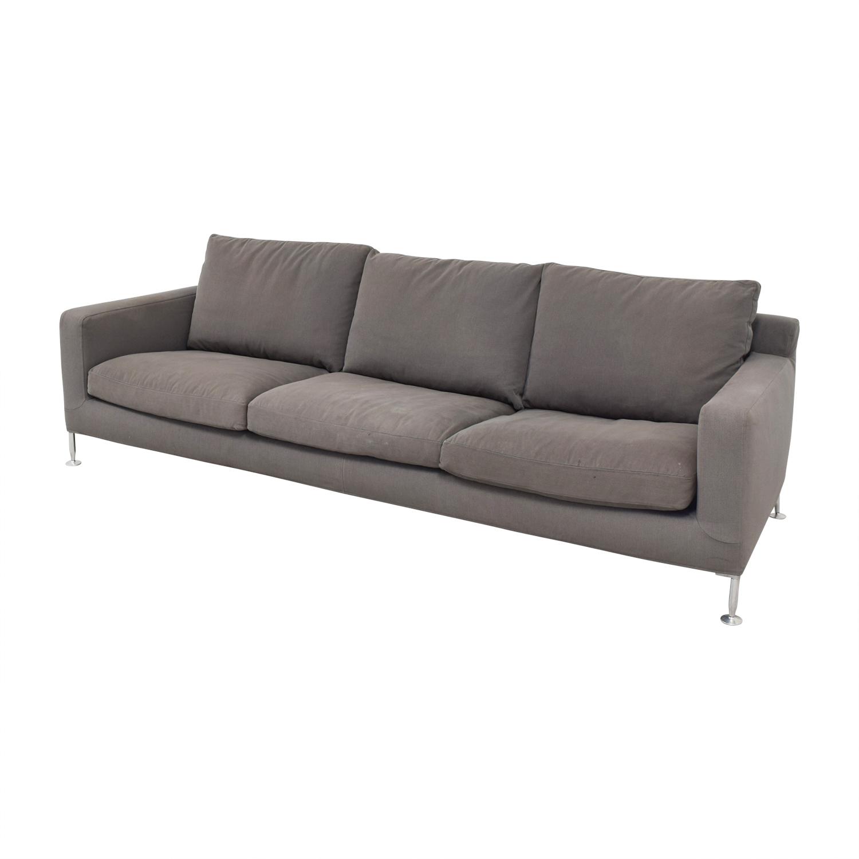 buy B&B Italia Harry Grey Three-Cushion Couch B&B Italia Classic Sofas