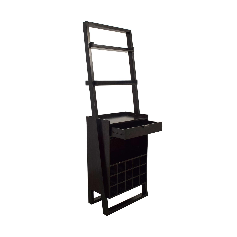 Crate & Barrel Single Drawer Leaning Wine Holder / Storage
