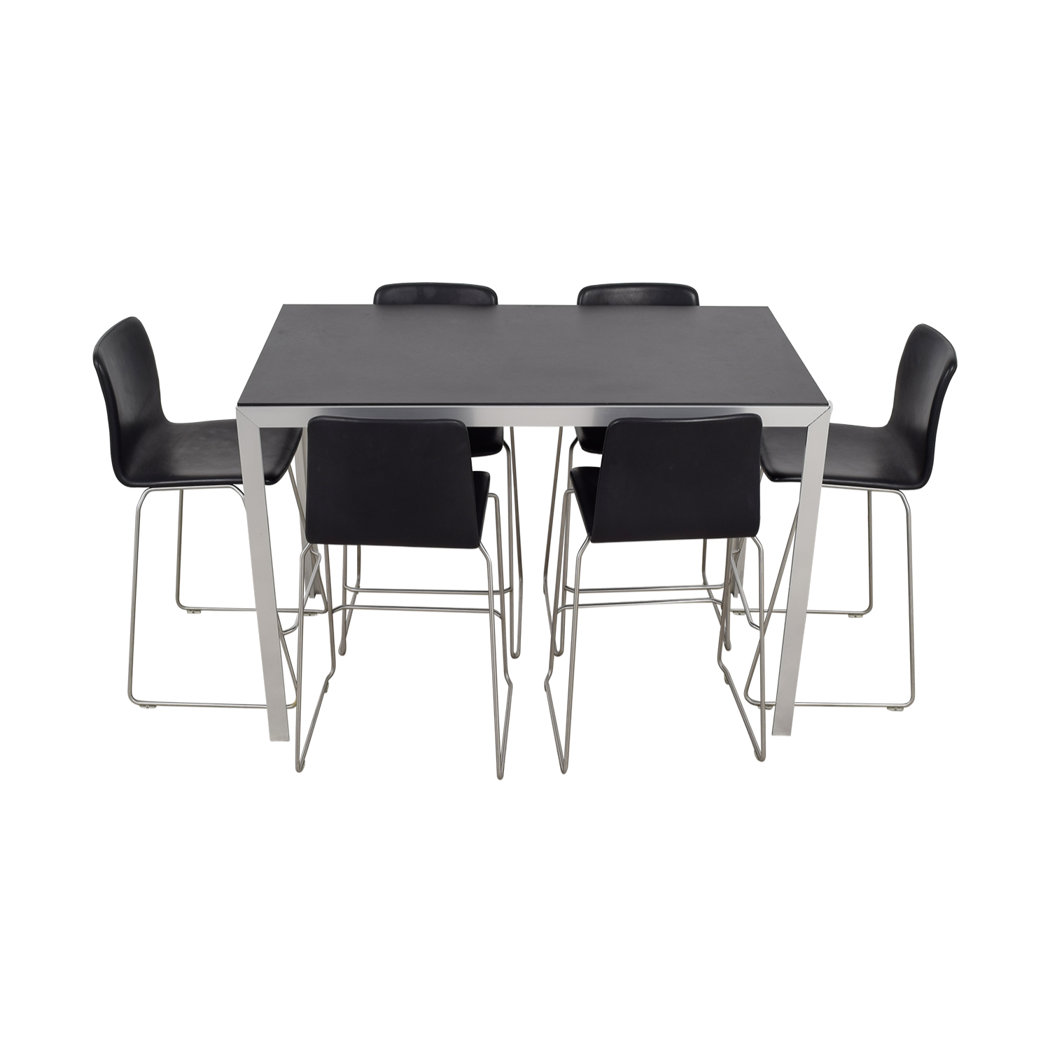 HAY Black and Chrome High Table and Bar Stools HAY