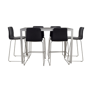 Hay HAY Black and Chrome High Table and Bar Stools nyc