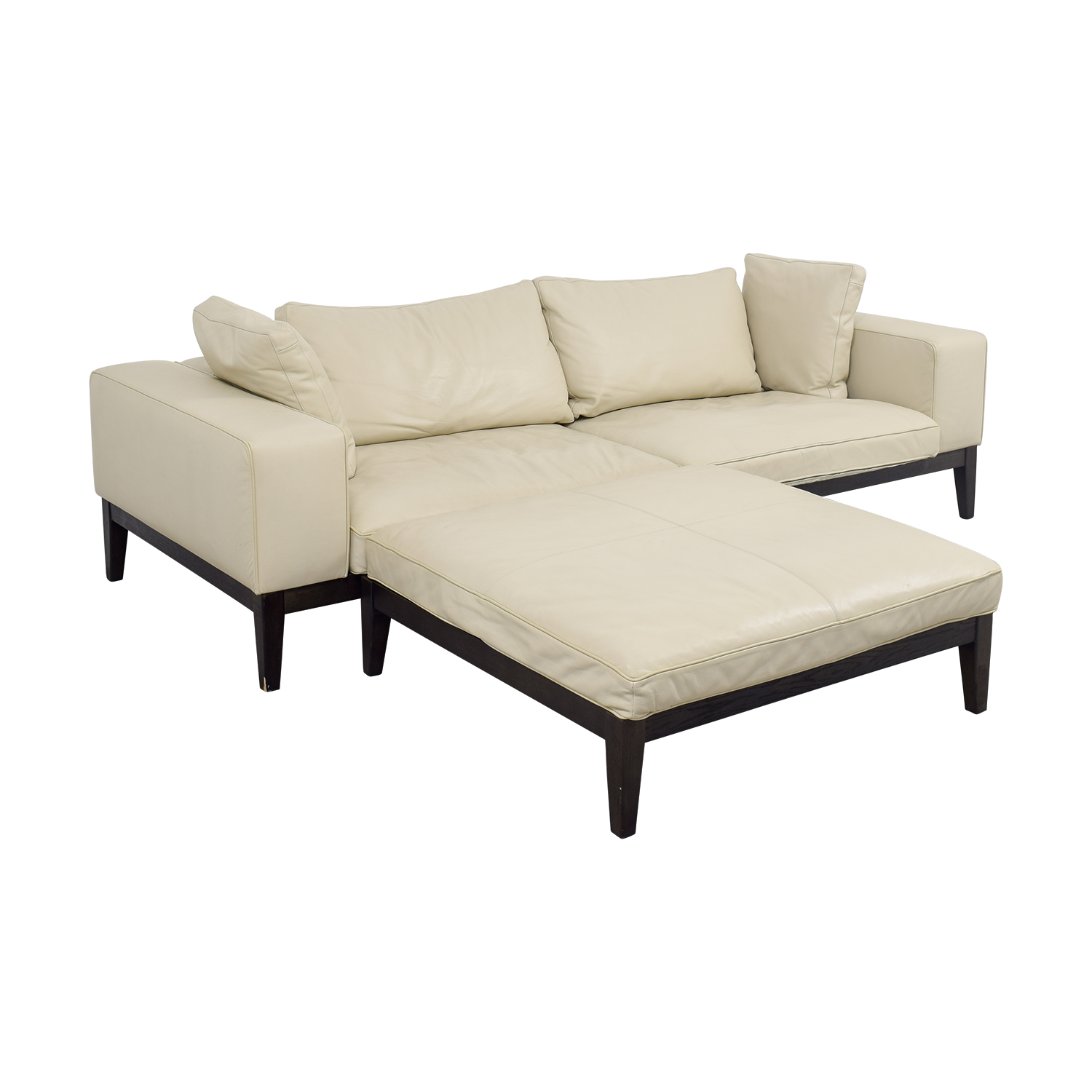 90% OFF - Tree Tree Contemporary Italian Off White Leather Couch with Large  Chaise Ottoman / Sofas