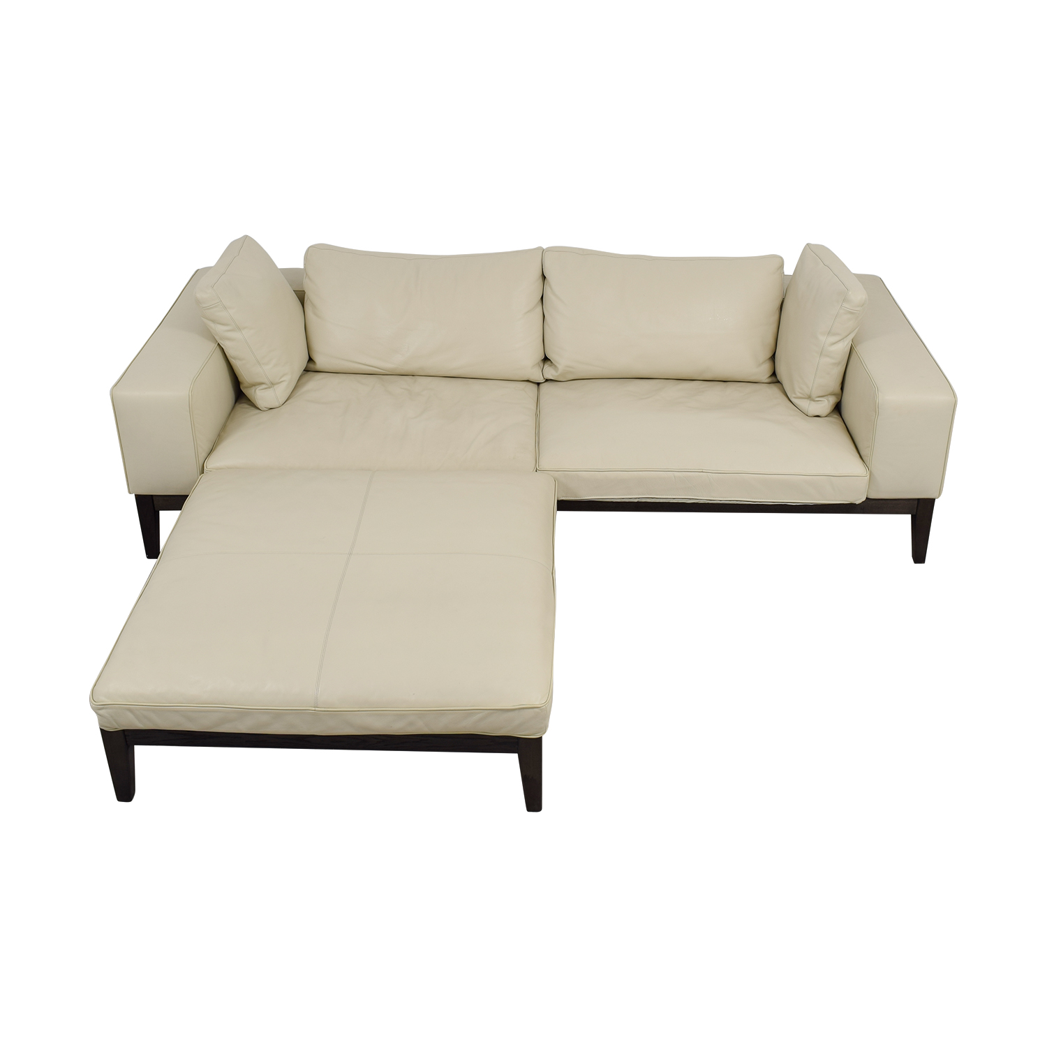 Tree Tree Contemporary Italian Off White Leather Couch with Large Chaise Ottoman dimensions