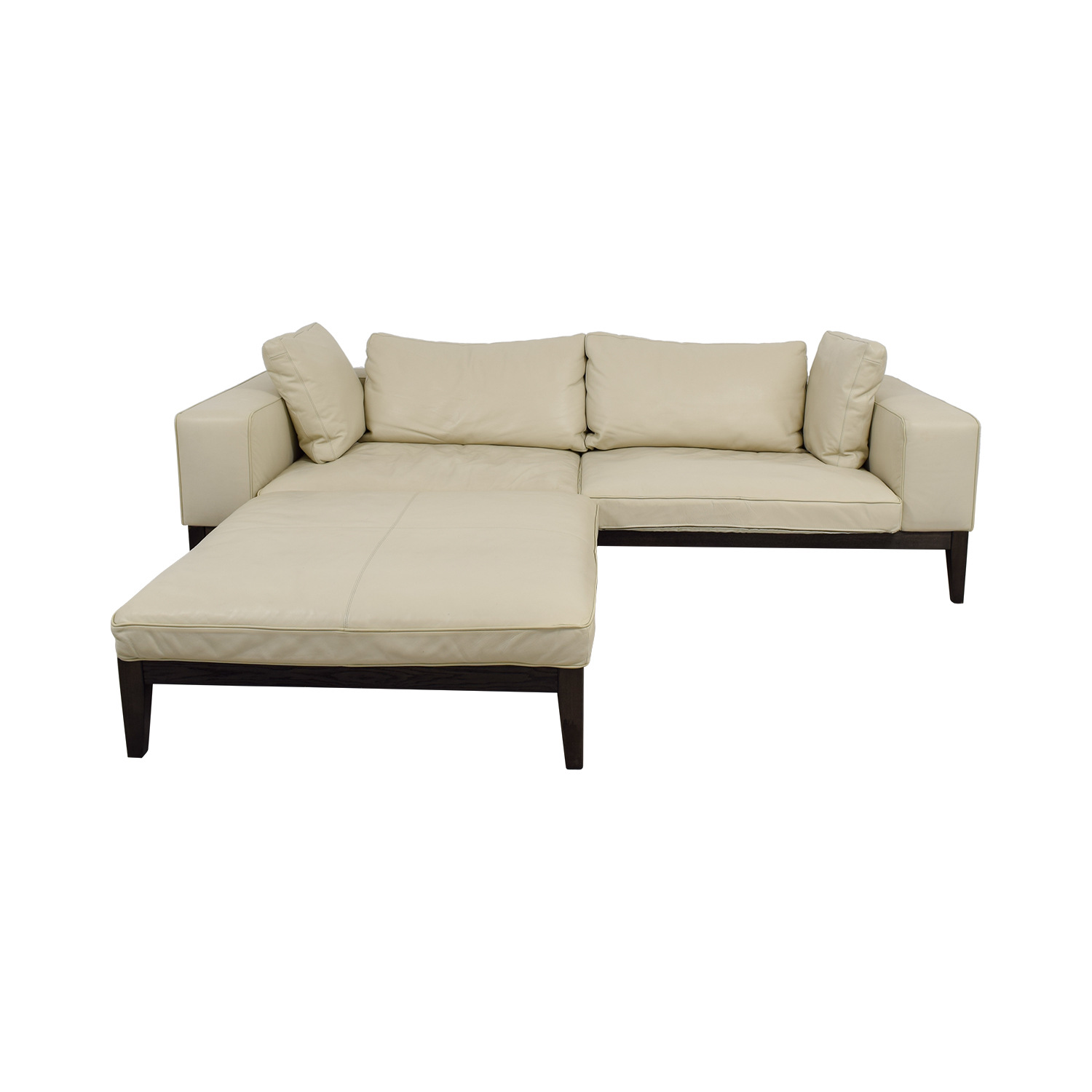 Tree Contemporary Italian Off White Leather Couch With Large Chaise Ottoman Nyc