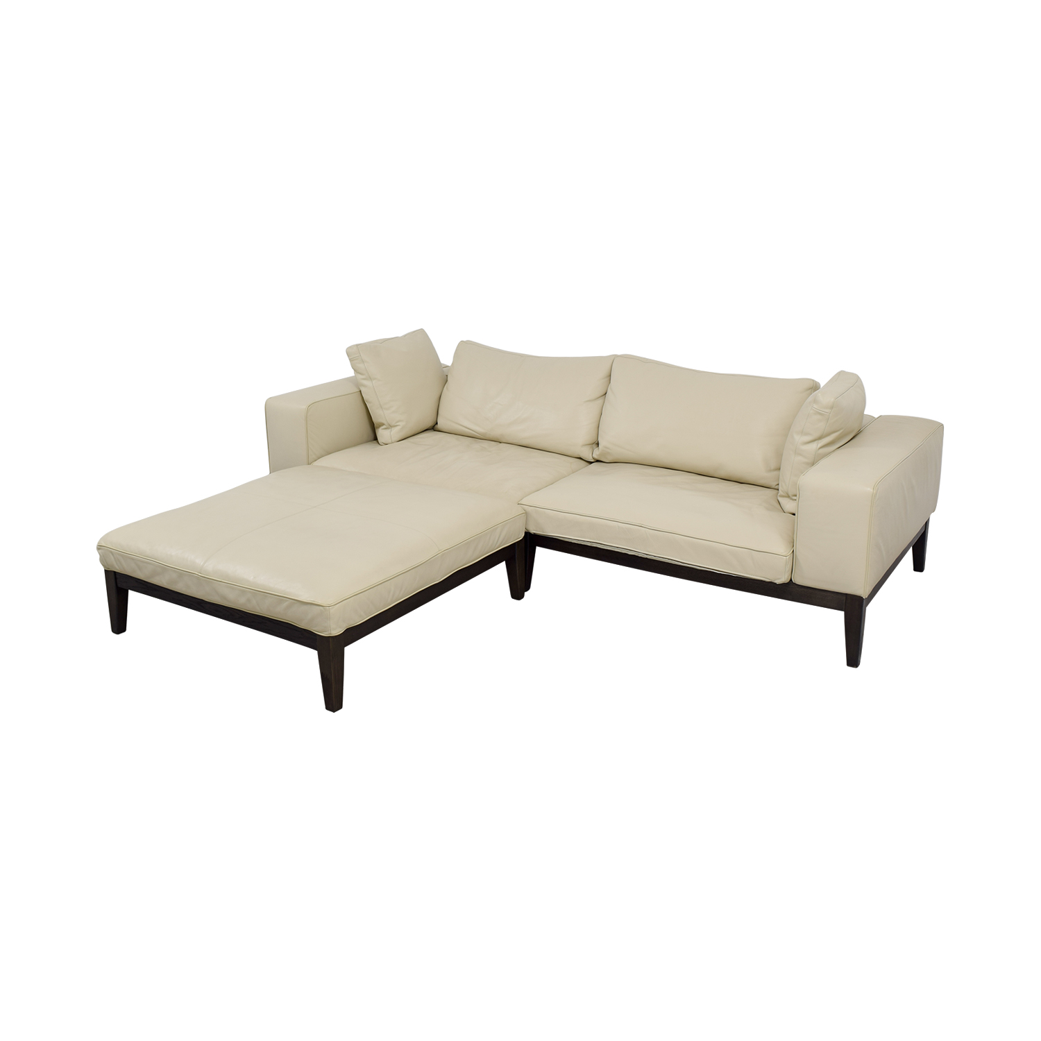 90 Off Tree Tree Contemporary Italian Off White Leather Couch With Large Chaise Ottoman Sofas