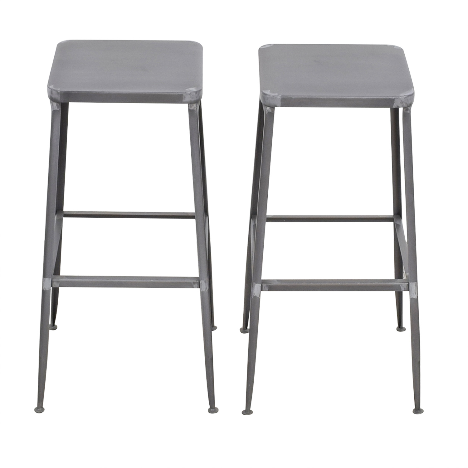 74 Off Cb2 Cb2 Flint Steel Bar Stools Tables