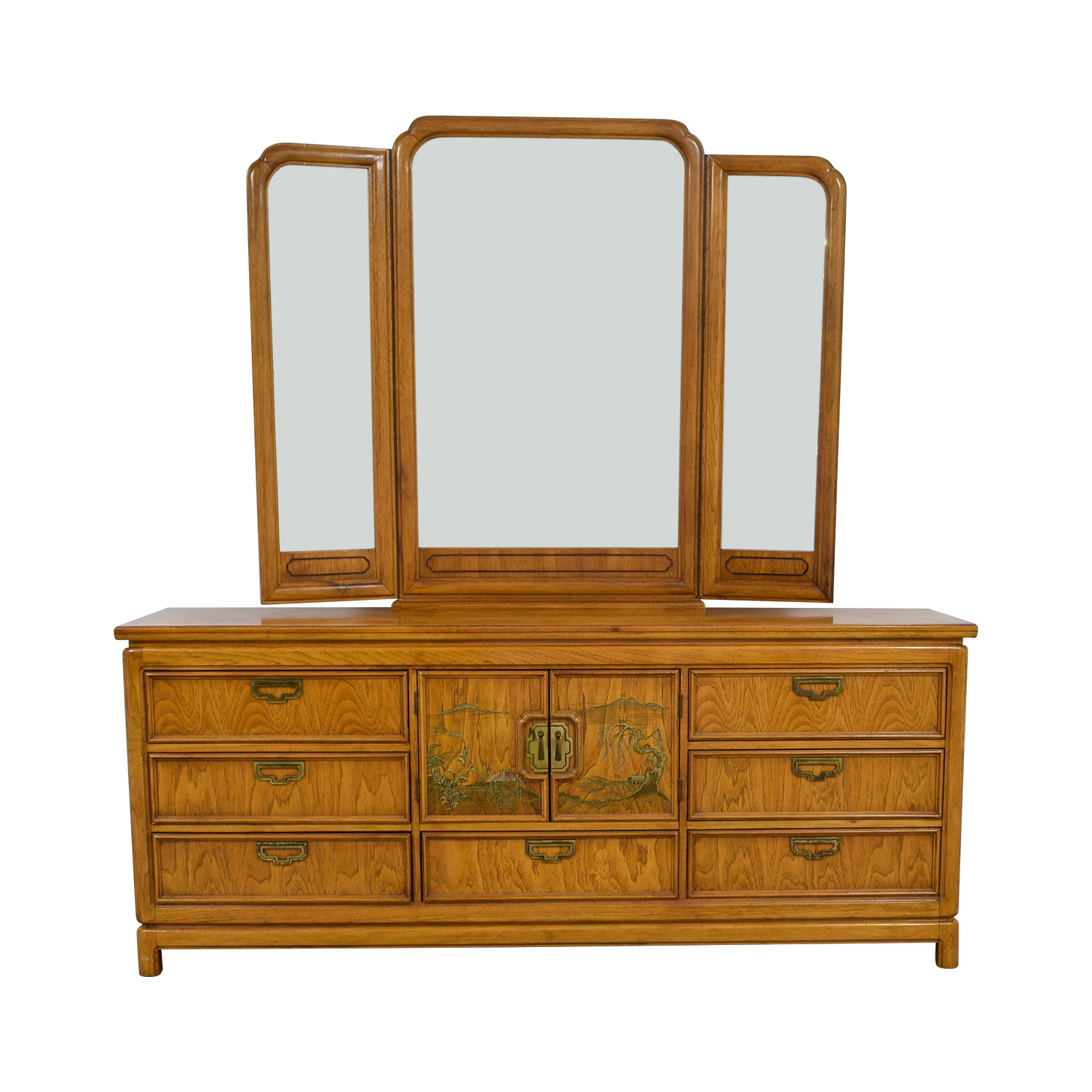 Thomasville Thomasville Nine-Drawer Dresser with Folding MIrror for sale