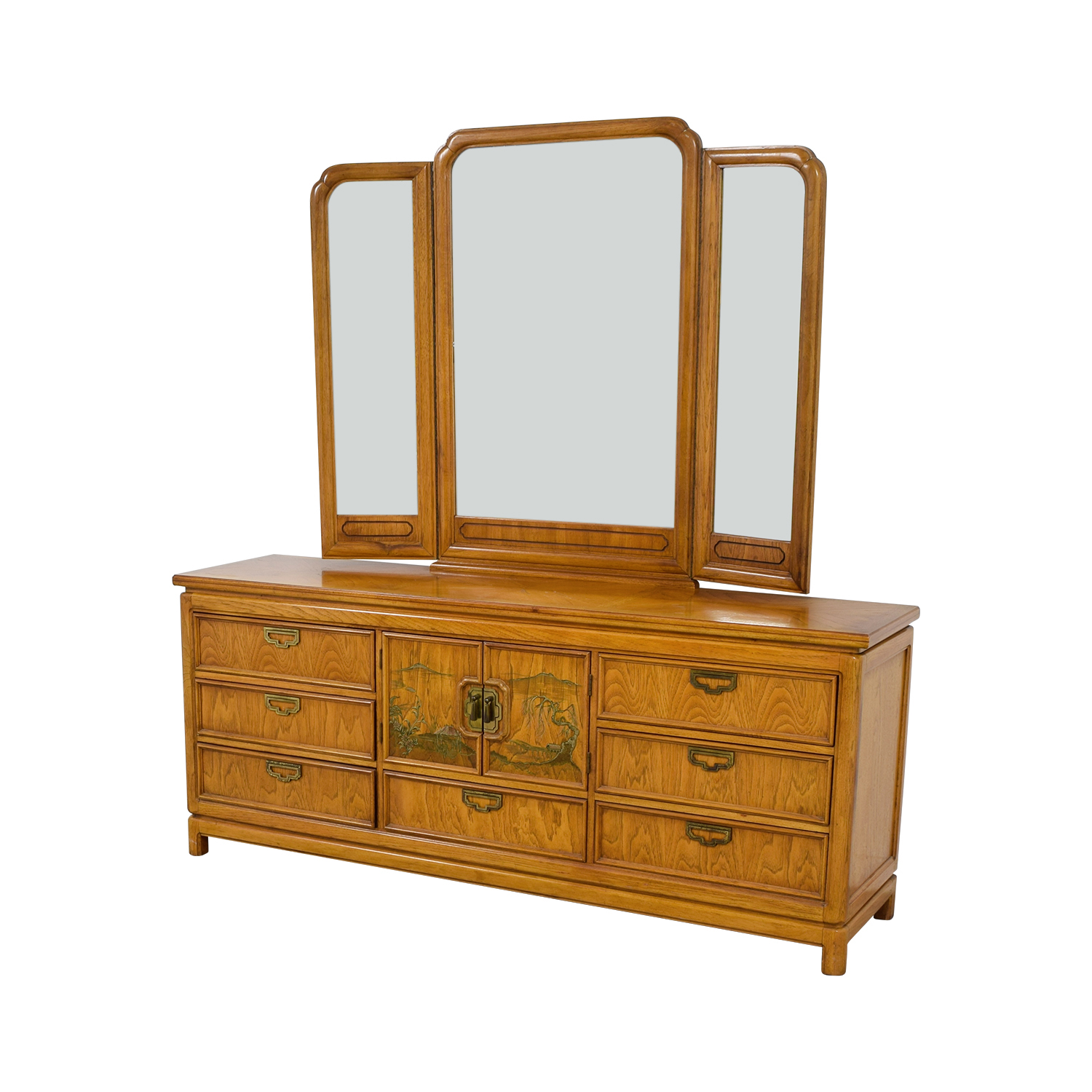 Thomasville Thomasville Nine-Drawer Dresser with Folding MIrror