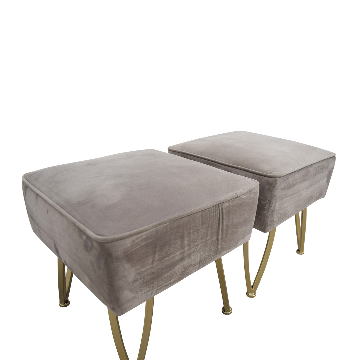 shop World Market Velvet Gray and Gold Stools or Ottomans World Market Chairs