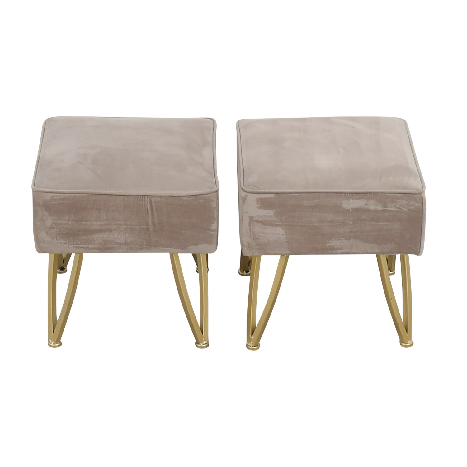 World Market World Market Velvet Gray and Gold Stools or Ottomans GREY/GOLD LEGS