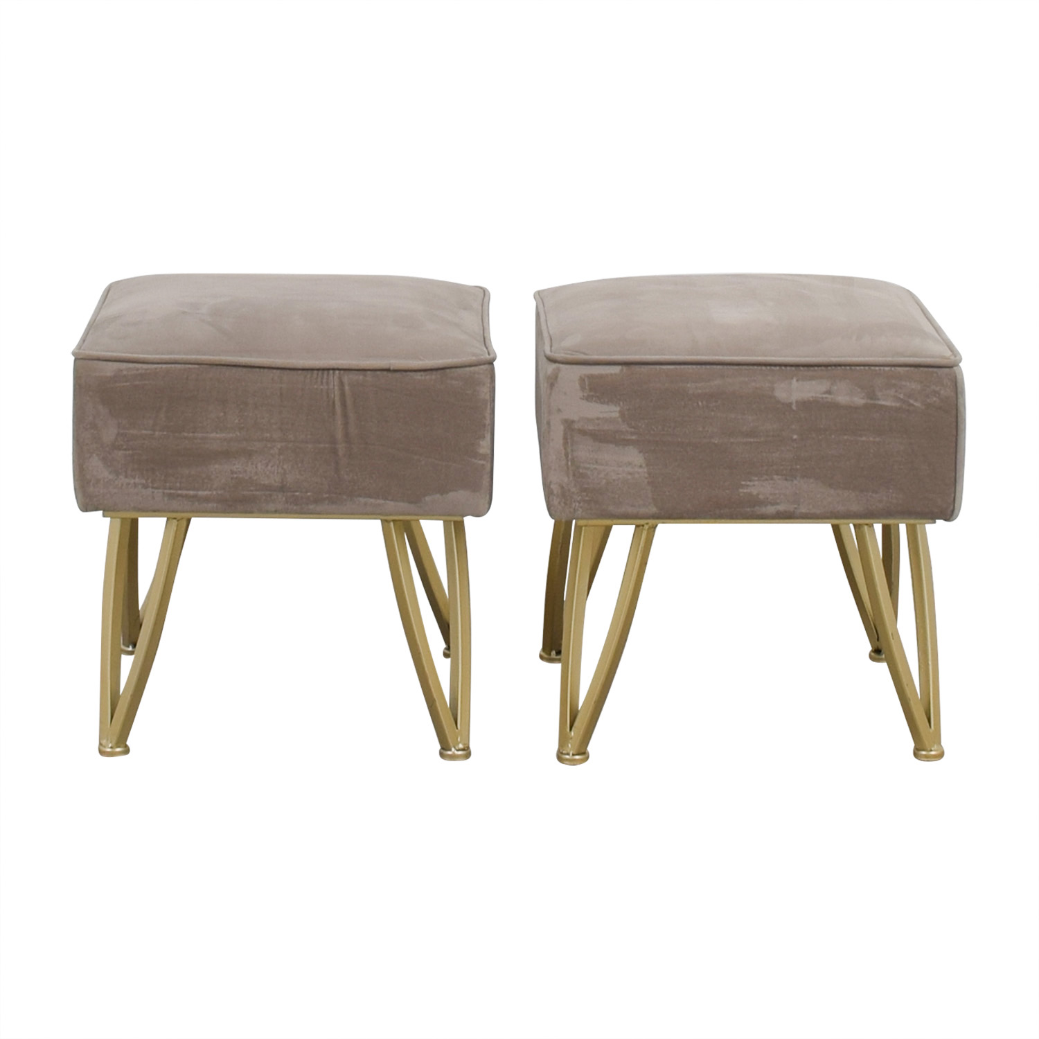World Market World Market Velvet Gray and Gold Stools or Ottomans
