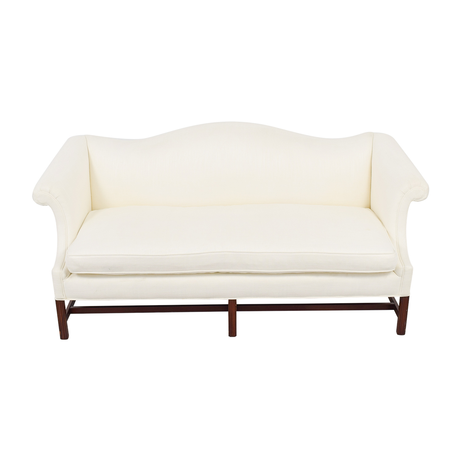 White Linen Camel Back Single-Cushion Couch discount