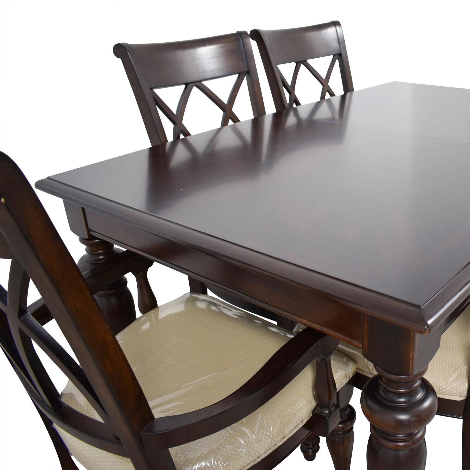 Macys Macys Wood Dining Set with Beige Upholstery second hand