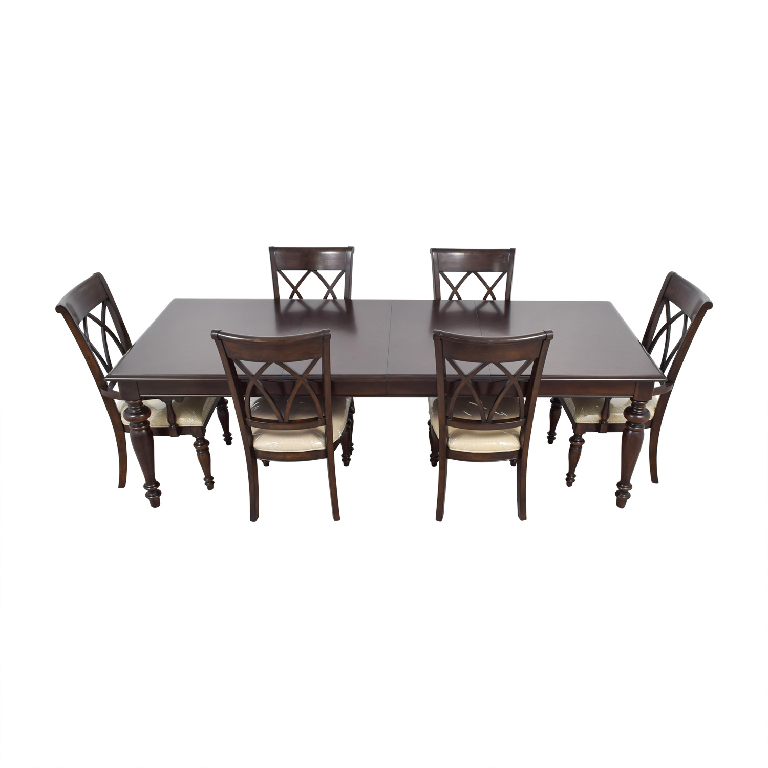 Macys Wood Dining Set with Beige Upholstery / Tables