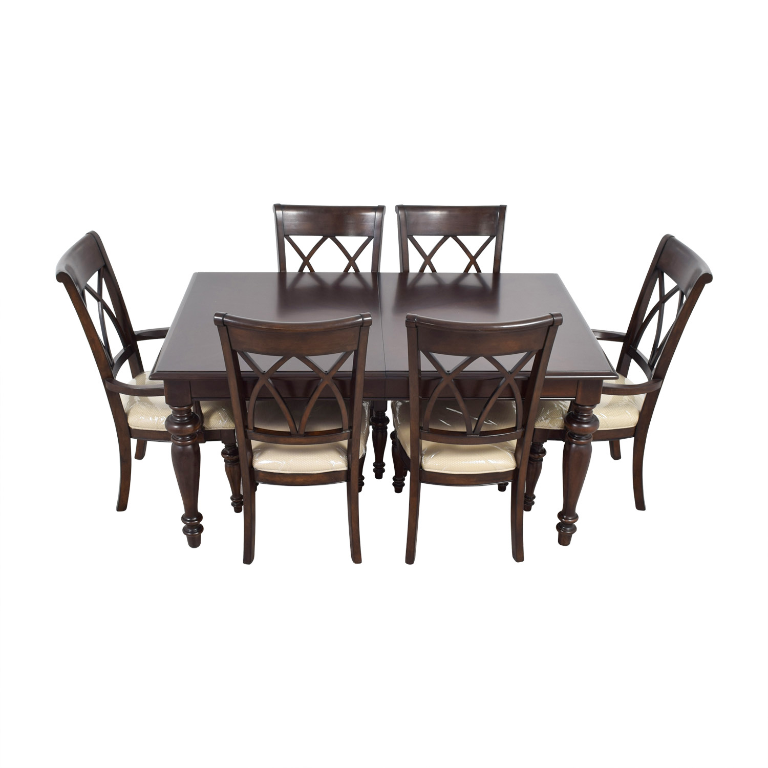 Macys Macys Wood Dining Set with Beige Upholstery for sale