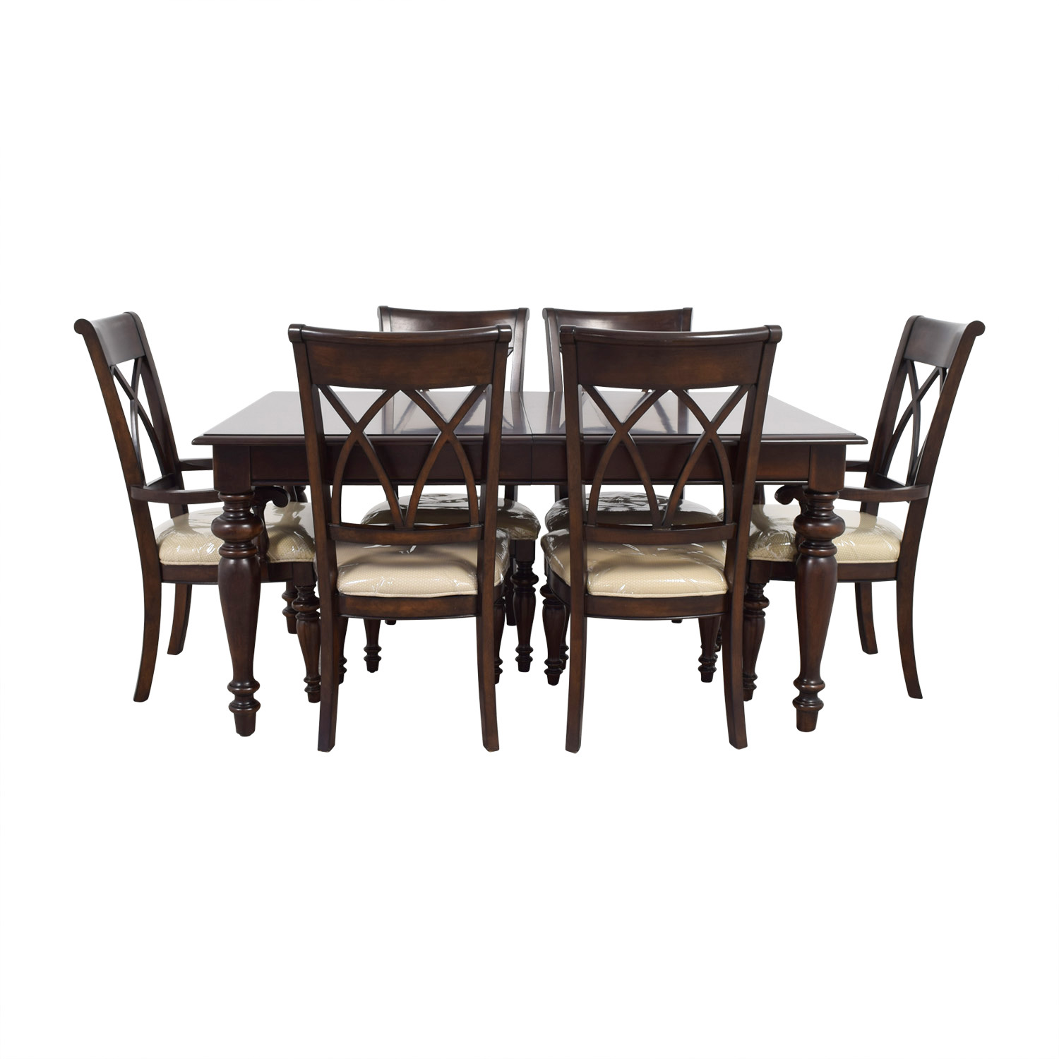 Macys Wood Dining Set with Beige Upholstery sale