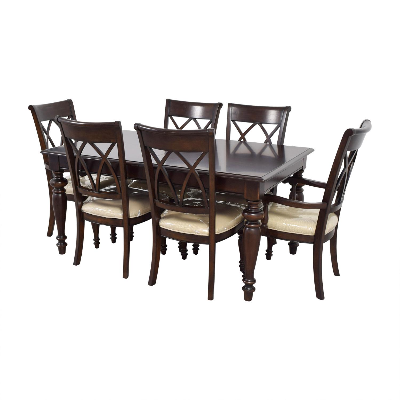 Macys Macys Wood Dining Set with Beige Upholstery nj