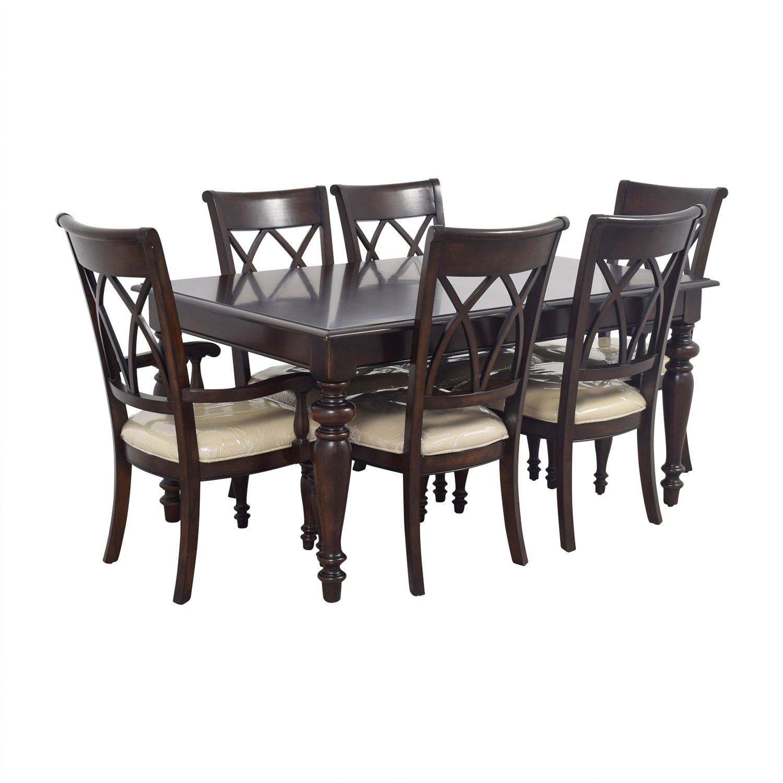 Macys Macys Wood Dining Set with Beige Upholstery used