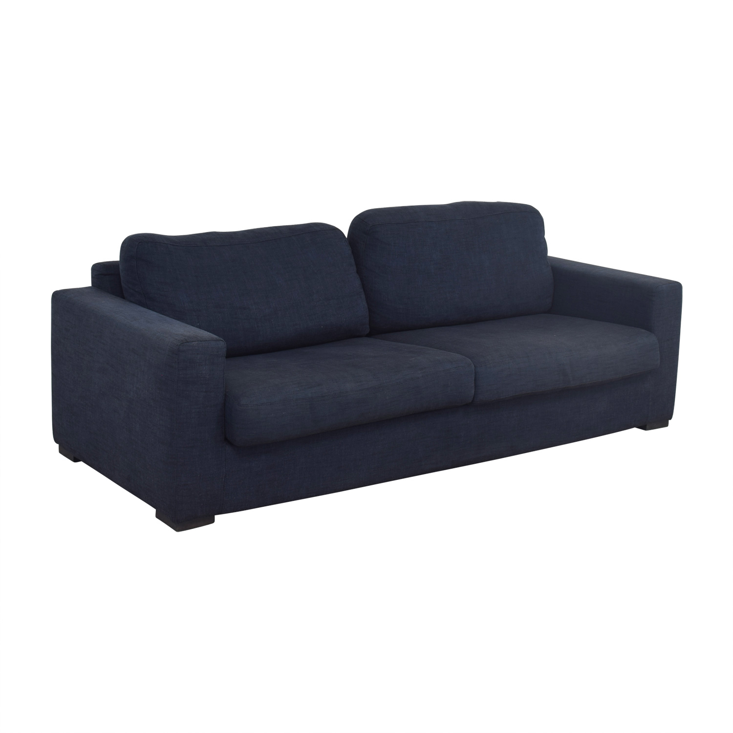 Meridiani Meridiani Italian Navy Linen Two-Cushion Couch used