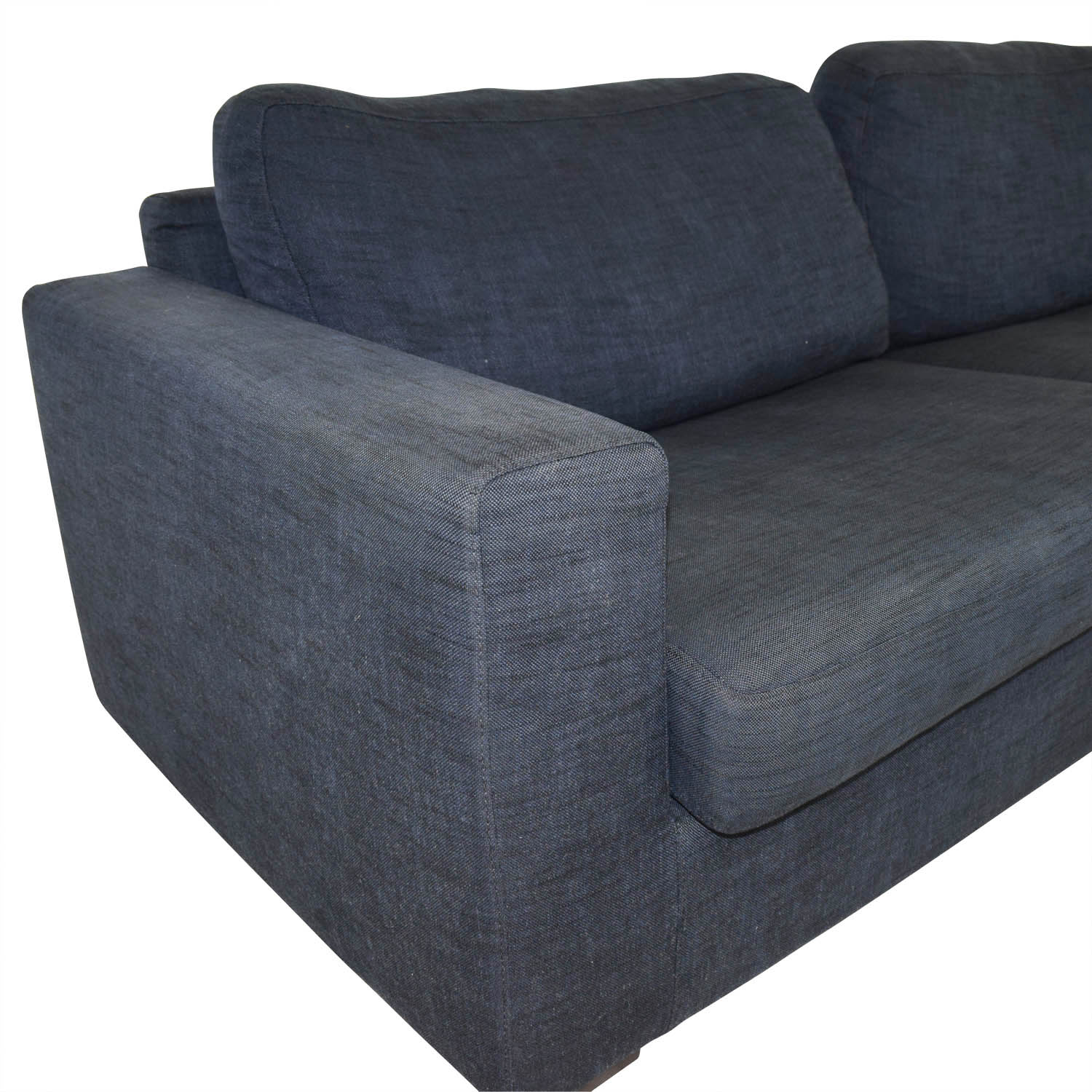Meridiani Meridiani Italian Navy Linen Two-Cushion Couch for sale