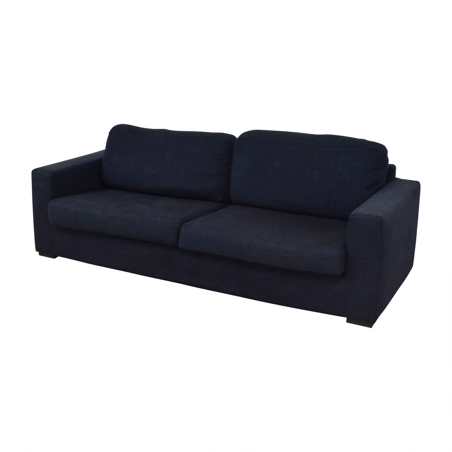 Meridiani Meridiani Italian Navy Linen Two-Cushion Couch discount
