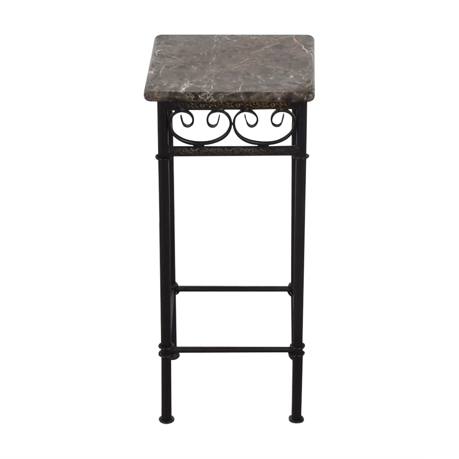 Faux Marble with Black Metal Base Accent Table nj
