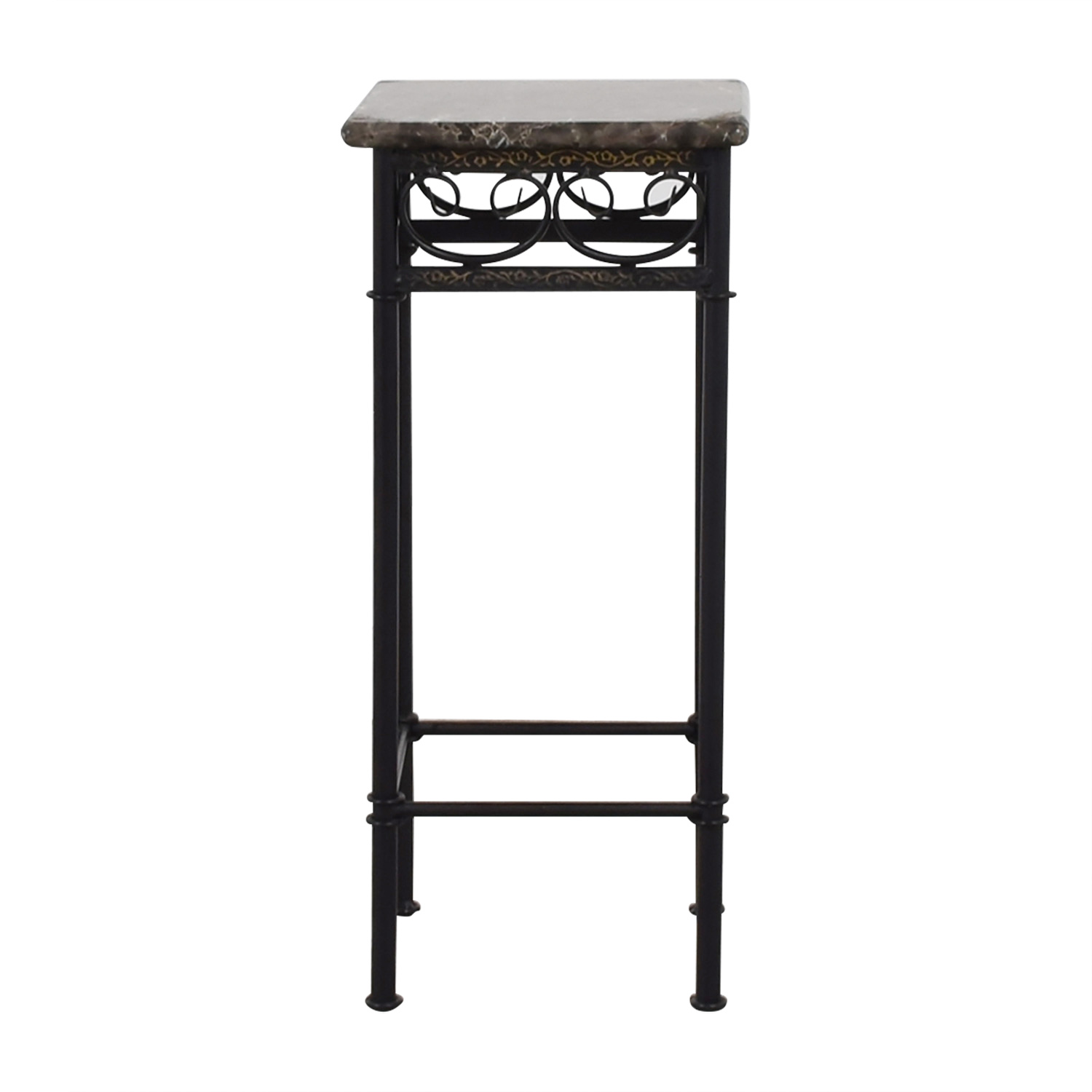 Faux Marble with Black Metal Base Accent Table Tables