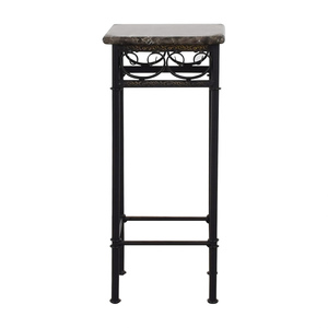 Faux Marble with Black Metal Base Accent Table discount