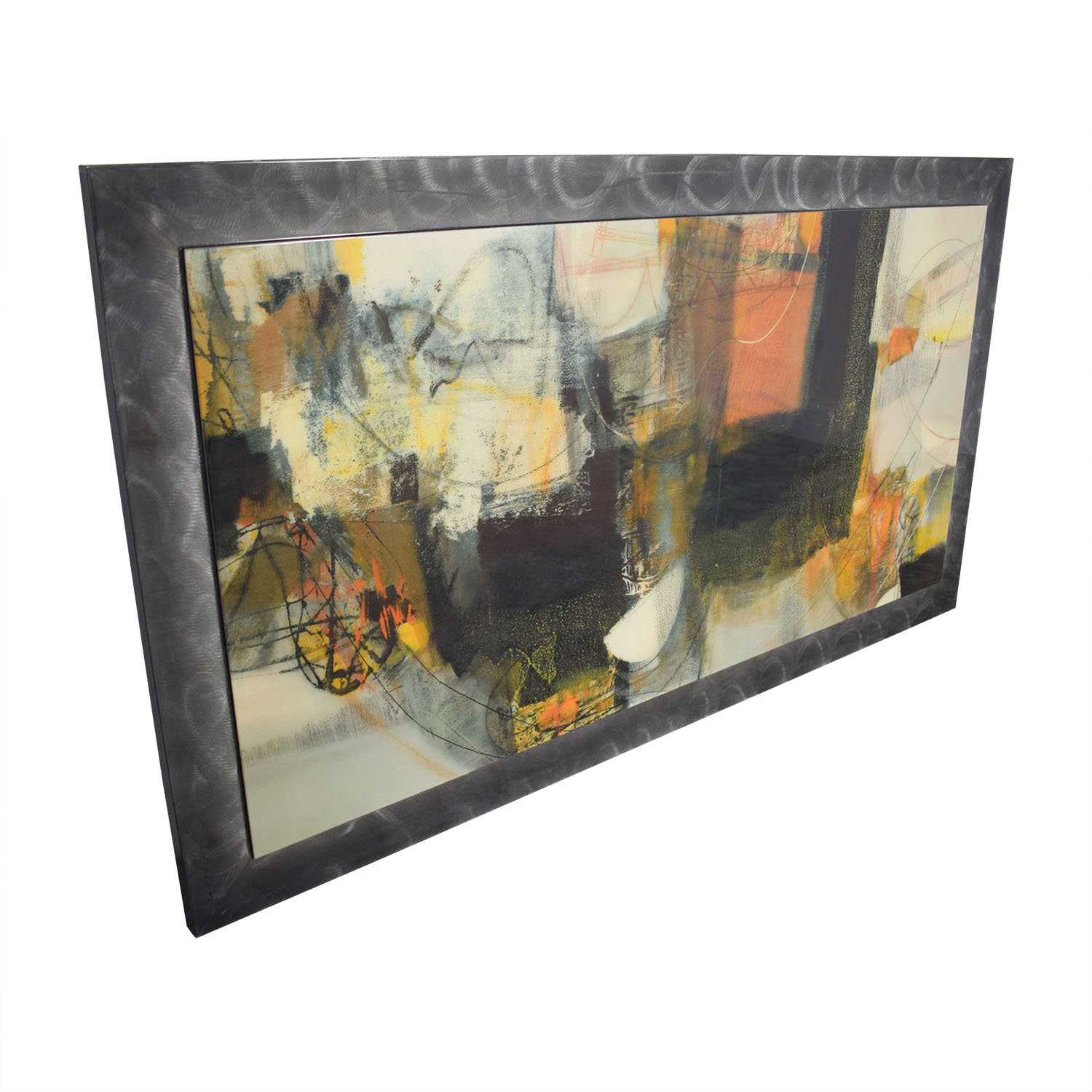 Multi-Colored Art Work in Pewter Frame