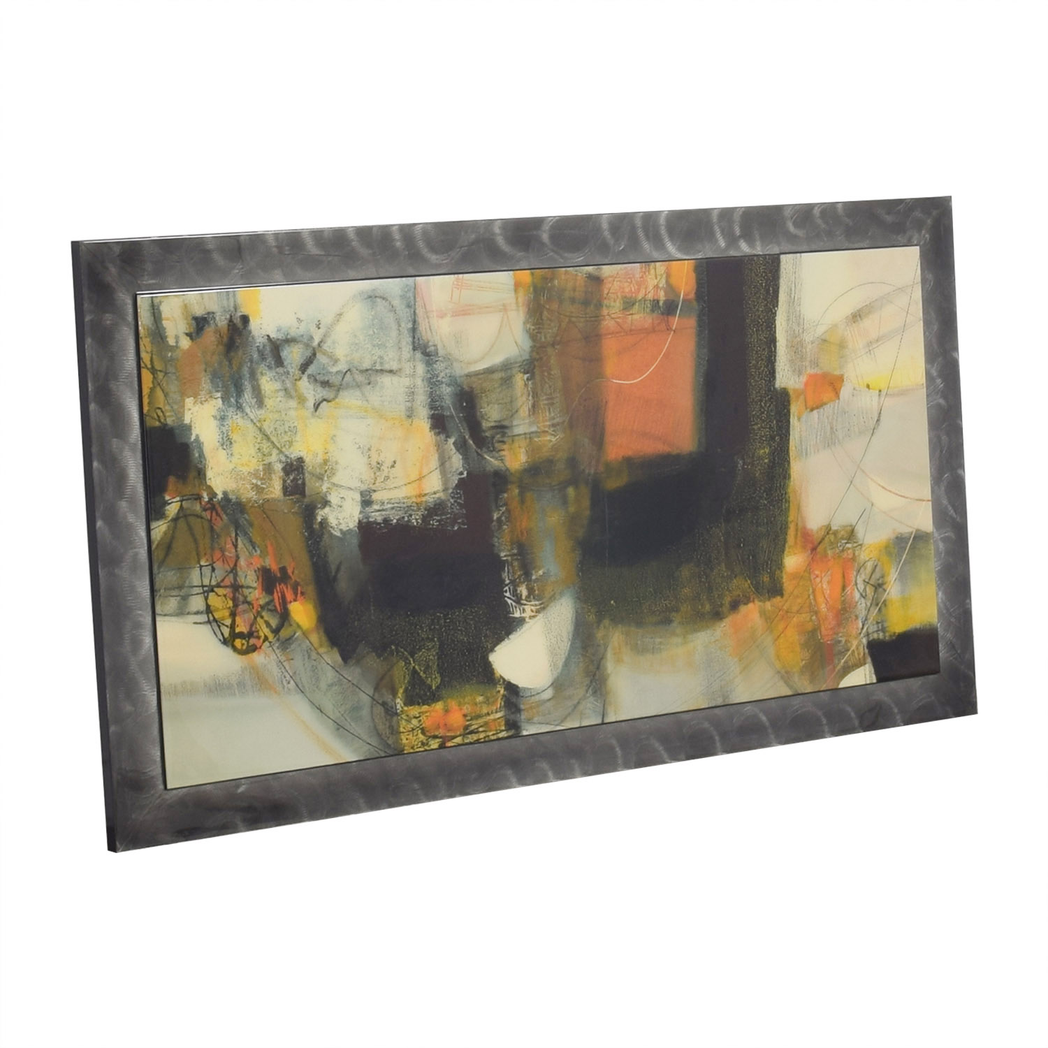 Multi-Colored Art Work in Pewter Frame sale